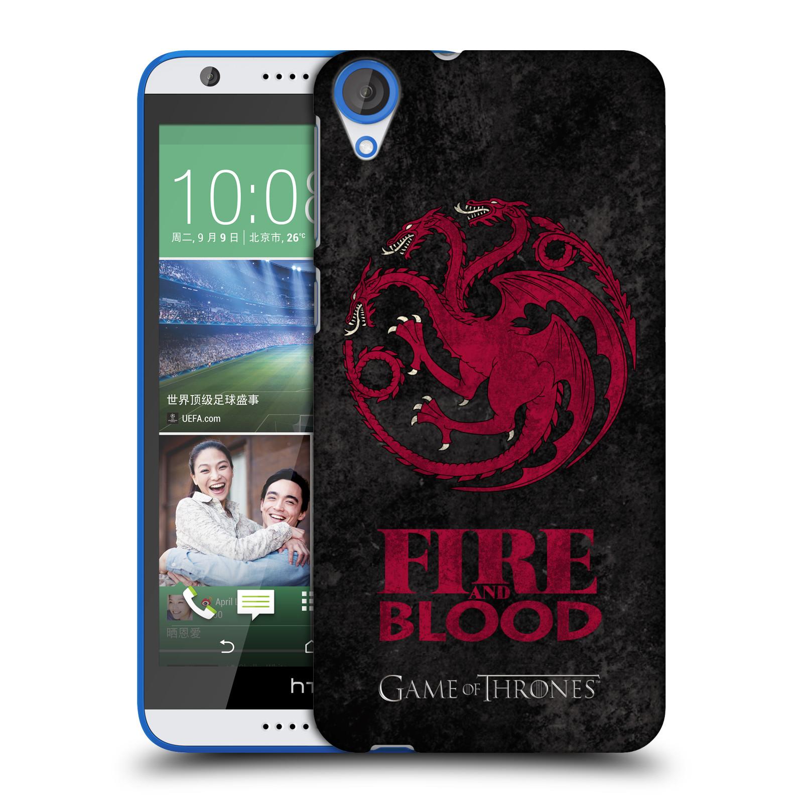 Plastové pouzdro na mobil HTC Desire 820 HEAD CASE Hra o trůny - Sigils Targaryen - Fire and Blood (Plastový kryt či obal na mobilní telefon s licencovaným motivem Hra o trůny - Game Of Thrones pro HTC Desire 820)