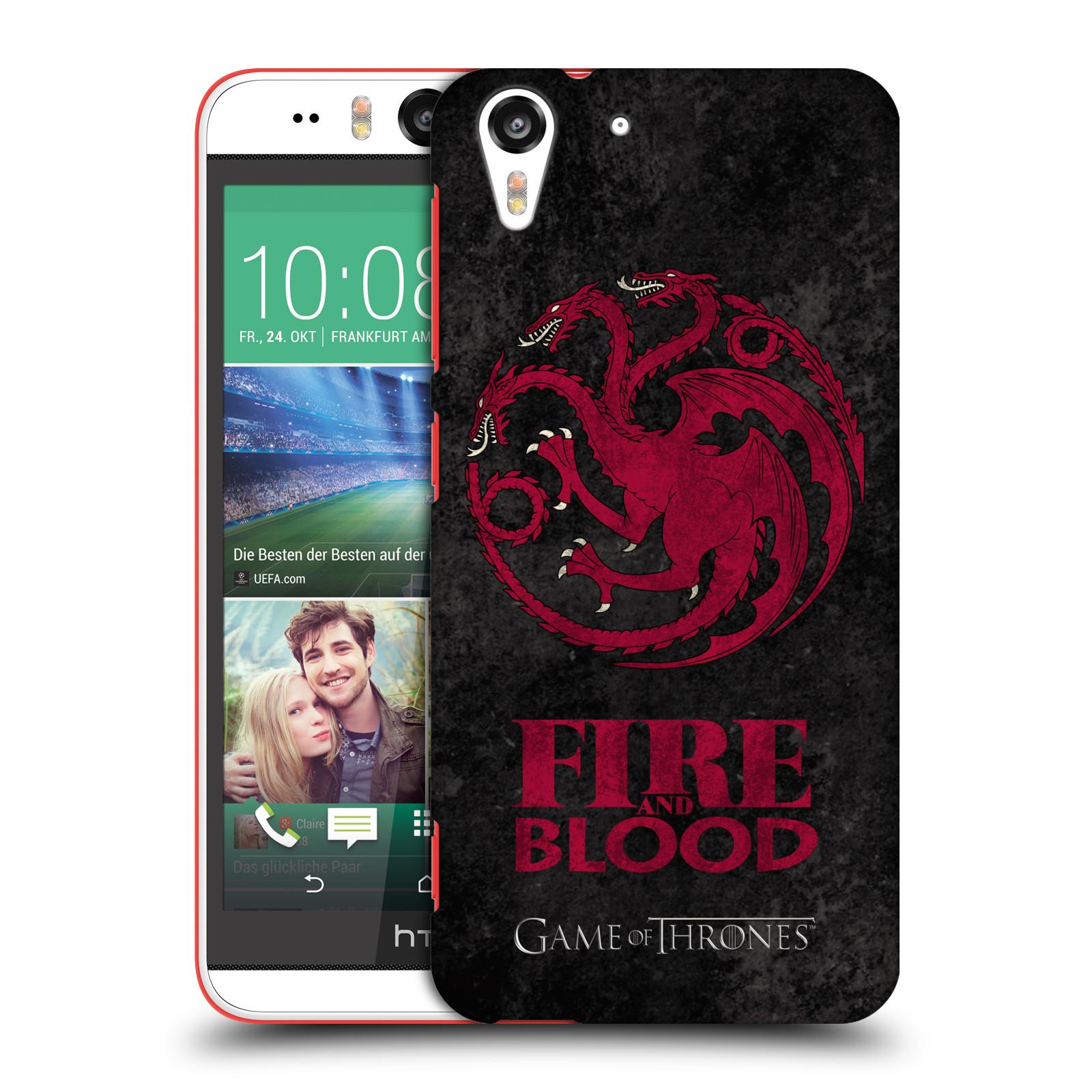 Plastové pouzdro na mobil HTC Desire EYE HEAD CASE Hra o trůny - Sigils Targaryen - Fire and Blood (Plastový kryt či obal na mobilní telefon s licencovaným motivem Hra o trůny - Game Of Thrones pro HTC Desire EYE)