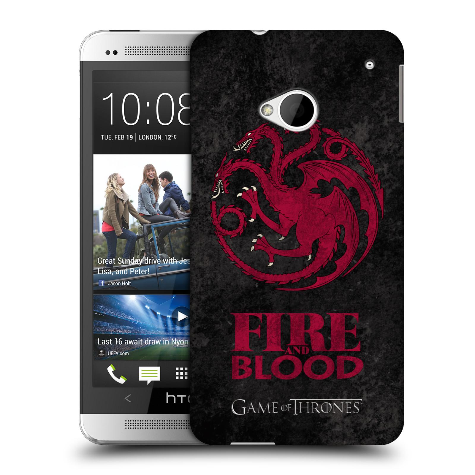 Plastové pouzdro na mobil HTC ONE M7 HEAD CASE Hra o trůny - Sigils Targaryen - Fire and Blood (Plastový kryt či obal na mobilní telefon s licencovaným motivem Hra o trůny - Game Of Thrones pro HTC ONE M7)