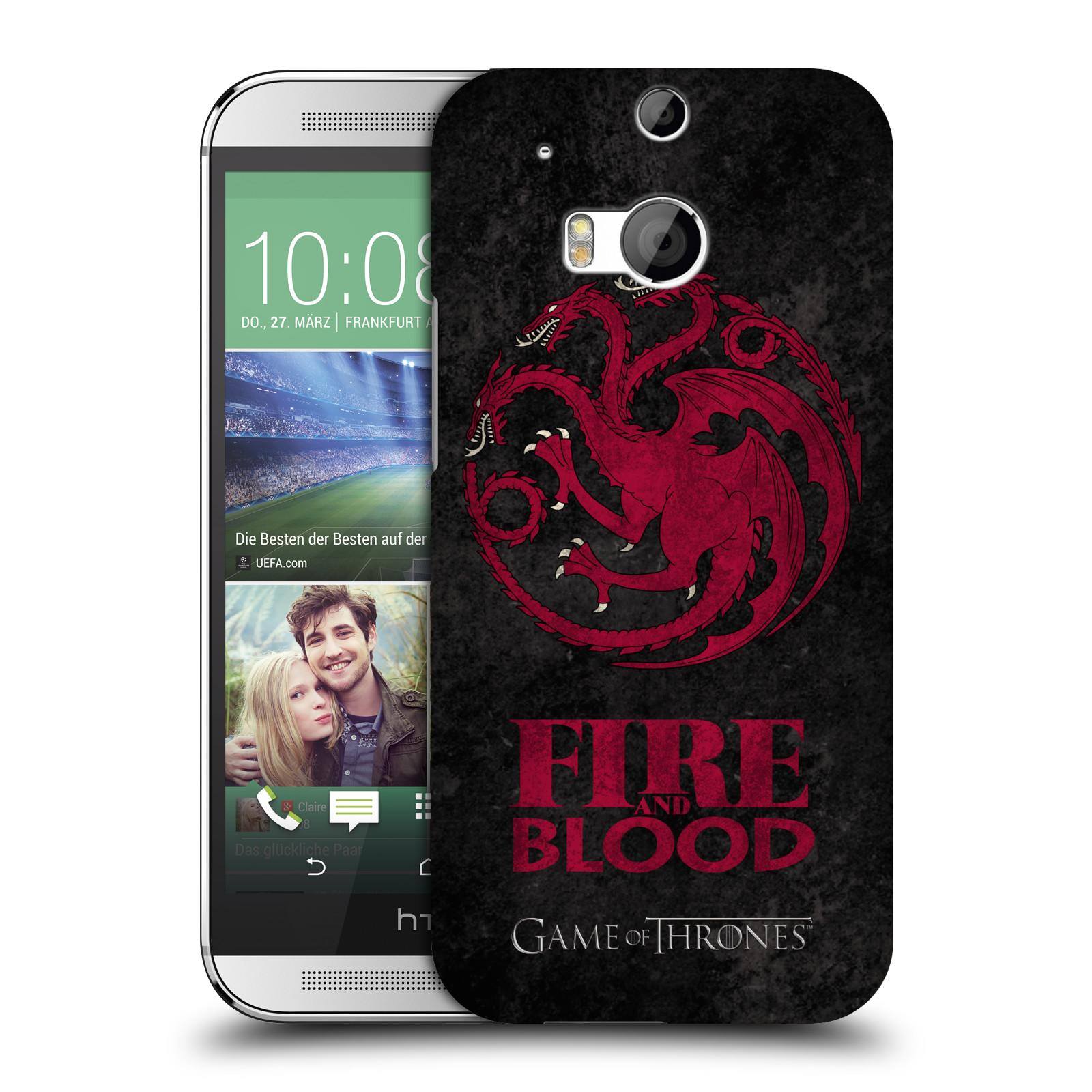 Plastové pouzdro na mobil HTC ONE M8 HEAD CASE Hra o trůny - Sigils Targaryen - Fire and Blood (Plastový kryt či obal na mobilní telefon s licencovaným motivem Hra o trůny - Game Of Thrones pro HTC ONE M8)