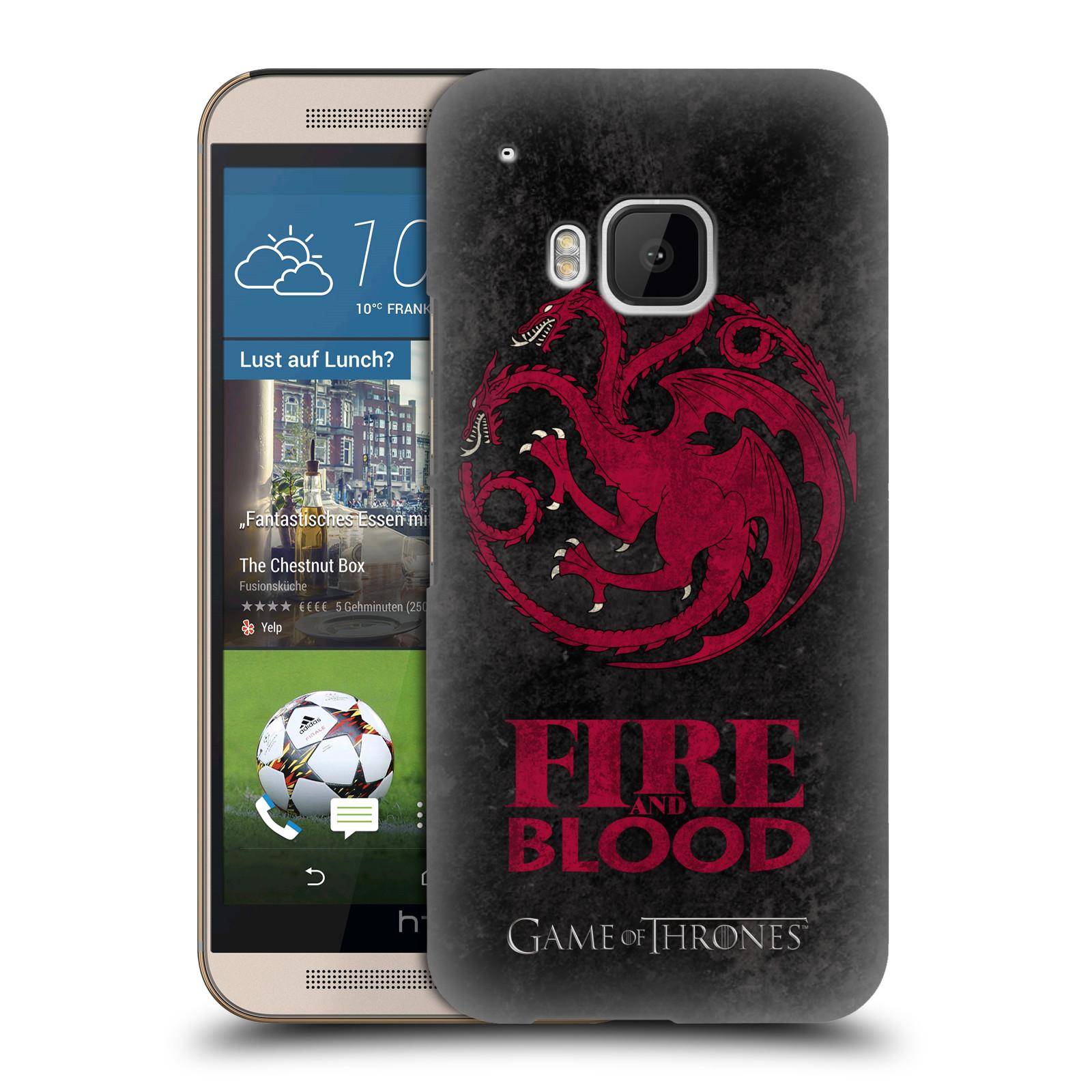 Plastové pouzdro na mobil HTC ONE M9 HEAD CASE Hra o trůny - Sigils Targaryen - Fire and Blood (Plastový kryt či obal na mobilní telefon s licencovaným motivem Hra o trůny - Game Of Thrones pro HTC ONE M9)