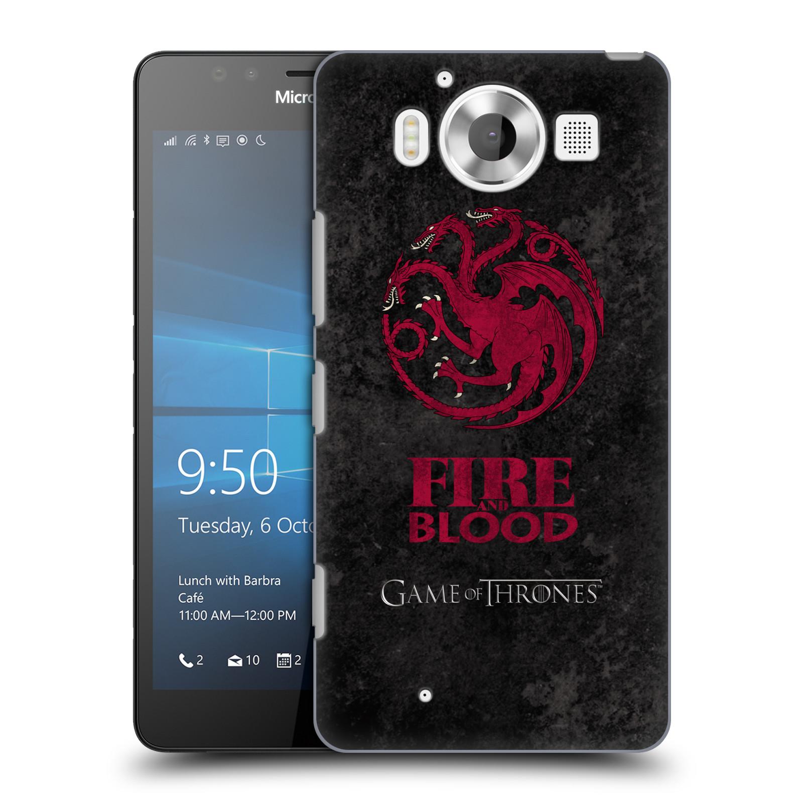 Plastové pouzdro na mobil Microsoft Lumia 950 HEAD CASE Hra o trůny - Sigils Targaryen - Fire and Blood (Plastový kryt či obal na mobilní telefon s licencovaným motivem Hra o trůny - Game Of Thrones pro Microsoft Lumia 950)