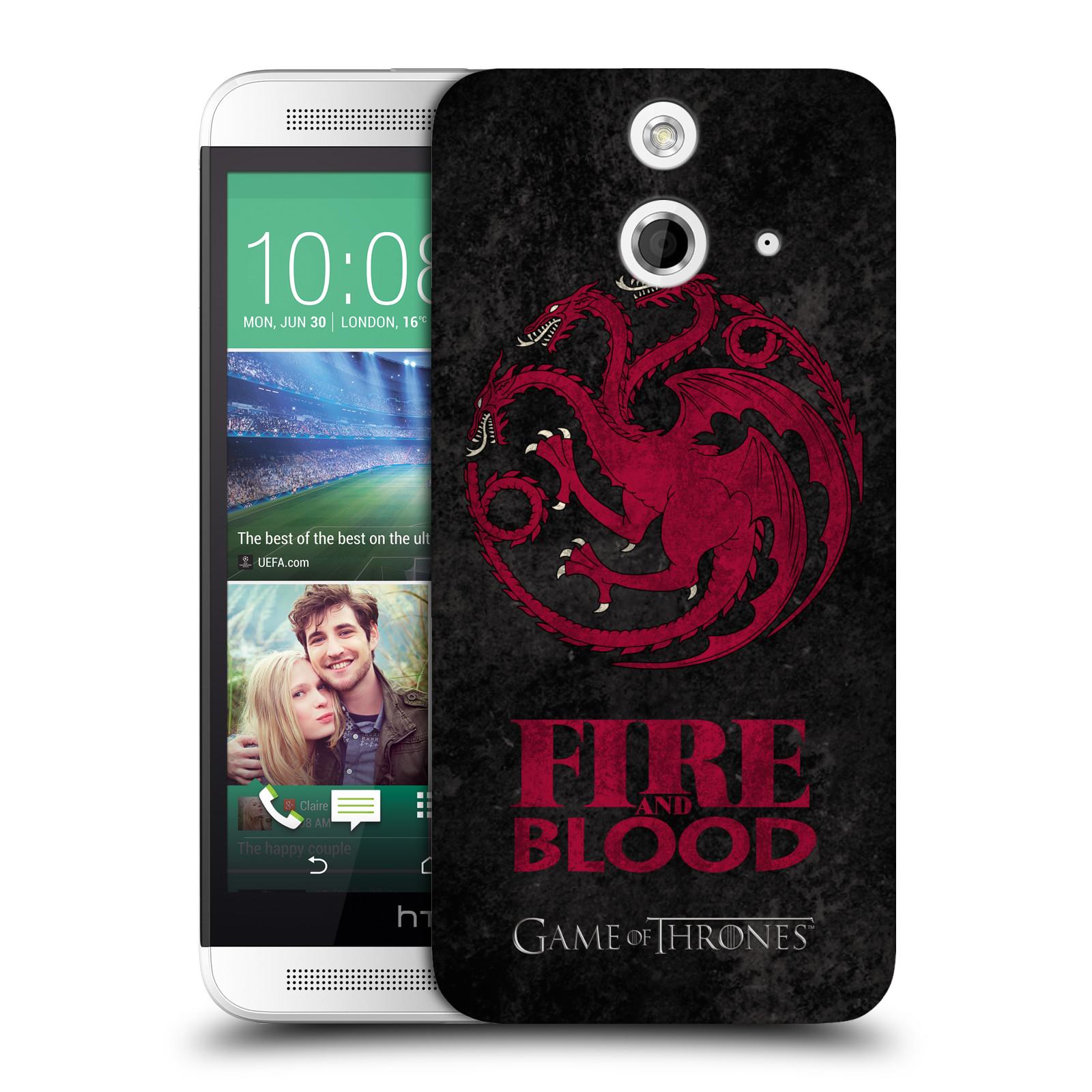 Plastové pouzdro na mobil HTC ONE E8 HEAD CASE Hra o trůny - Sigils Targaryen - Fire and Blood (Plastový kryt či obal na mobilní telefon s licencovaným motivem Hra o trůny - Game Of Thrones pro HTC ONE E8)