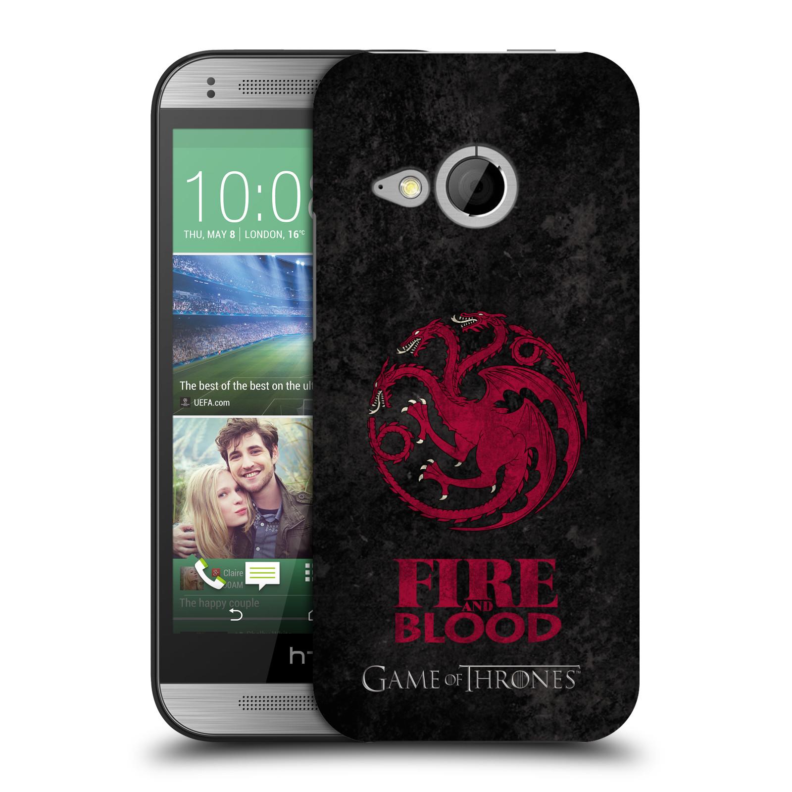 Plastové pouzdro na mobil HTC ONE Mini 2 HEAD CASE Hra o trůny - Sigils Targaryen - Fire and Blood (Plastový kryt či obal na mobilní telefon s licencovaným motivem Hra o trůny - Game Of Thrones pro HTC ONE Mini 2)