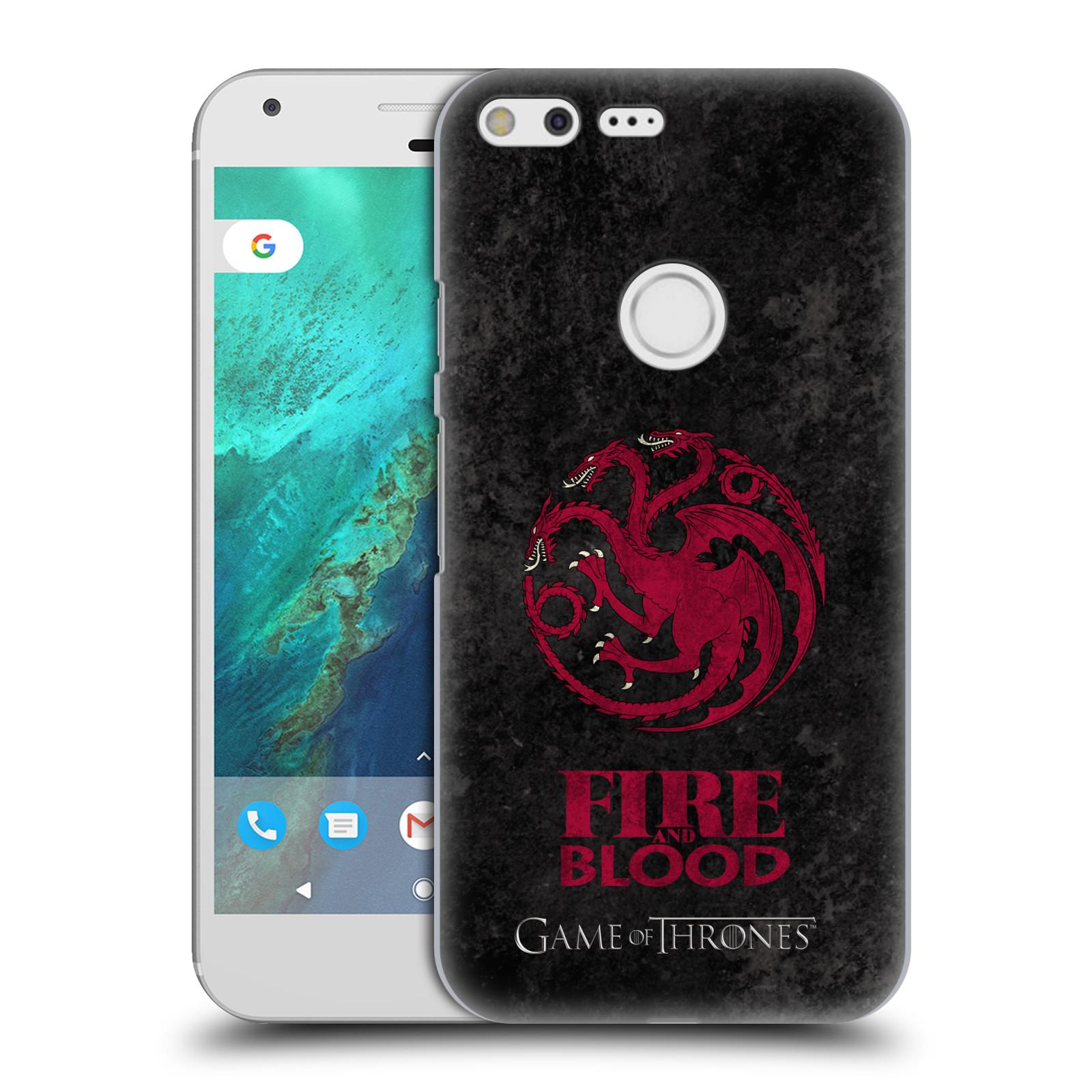 Plastové pouzdro na mobil Google Pixel XL HEAD CASE Hra o trůny - Sigils Targaryen - Fire and Blood (Plastový kryt či obal na mobilní telefon s licencovaným motivem Hra o trůny - Game Of Thrones pro Google Pixel XL)