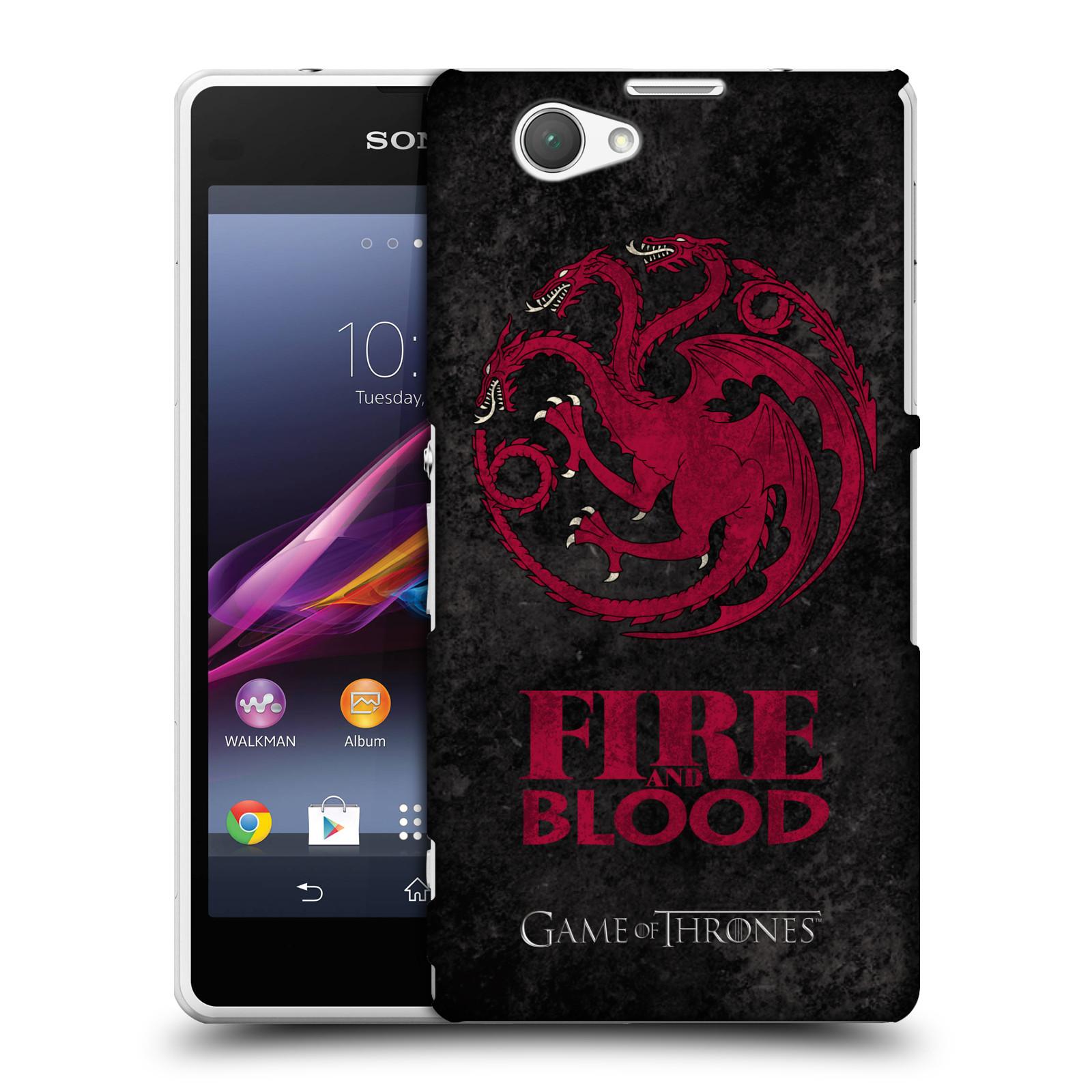 Plastové pouzdro na mobil Sony Xperia Z1 Compact D5503 HEAD CASE Hra o trůny - Sigils Targaryen - Fire and Blood (Plastový kryt či obal na mobilní telefon s licencovaným motivem Hra o trůny - Game Of Thrones pro Sony Xperia Z1 Compact)