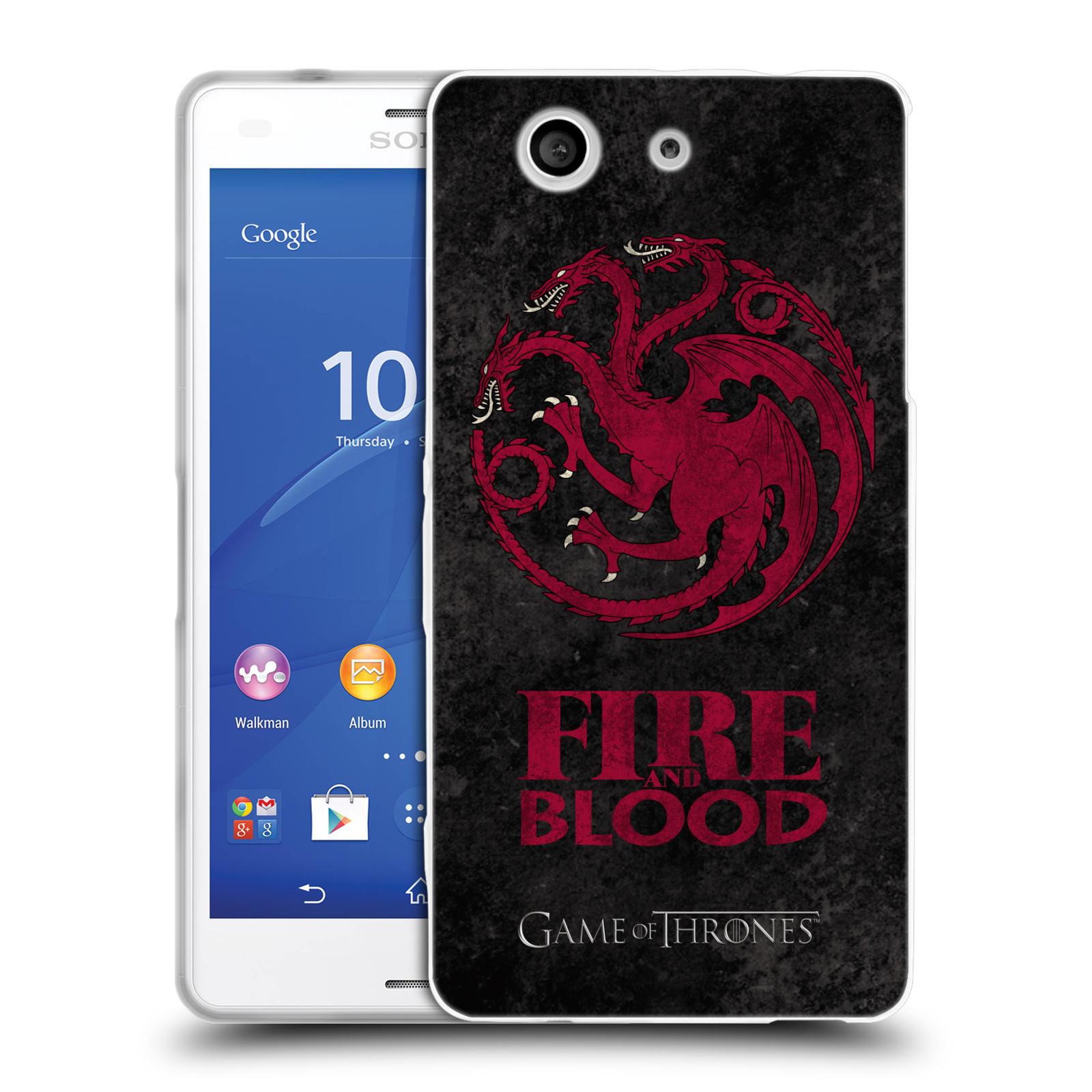 Silikonové pouzdro na mobil Sony Xperia Z3 Compact D5803 HEAD CASE Hra o trůny - Sigils Targaryen - Fire and Blood (Silikonový kryt či obal na mobilní telefon s licencovaným motivem Hra o trůny - Game Of Thrones pro Sony Xperia Z3 Compact)
