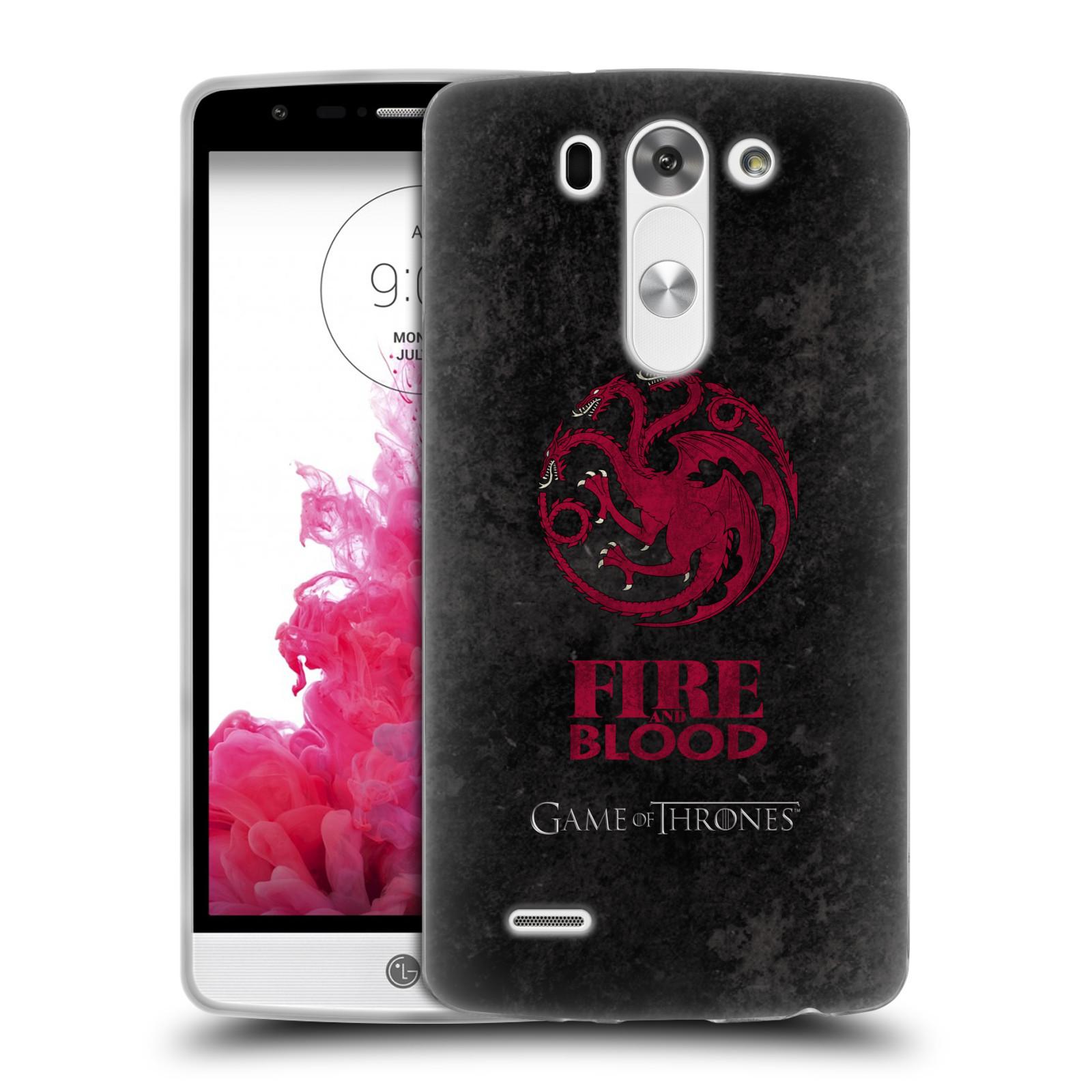 Silikonové pouzdro na mobil LG G3s HEAD CASE Hra o trůny - Sigils Targaryen - Fire and Blood (Silikonový kryt či obal na mobilní telefon s licencovaným motivem Hra o trůny - Game Of Thrones pro LG G3s)