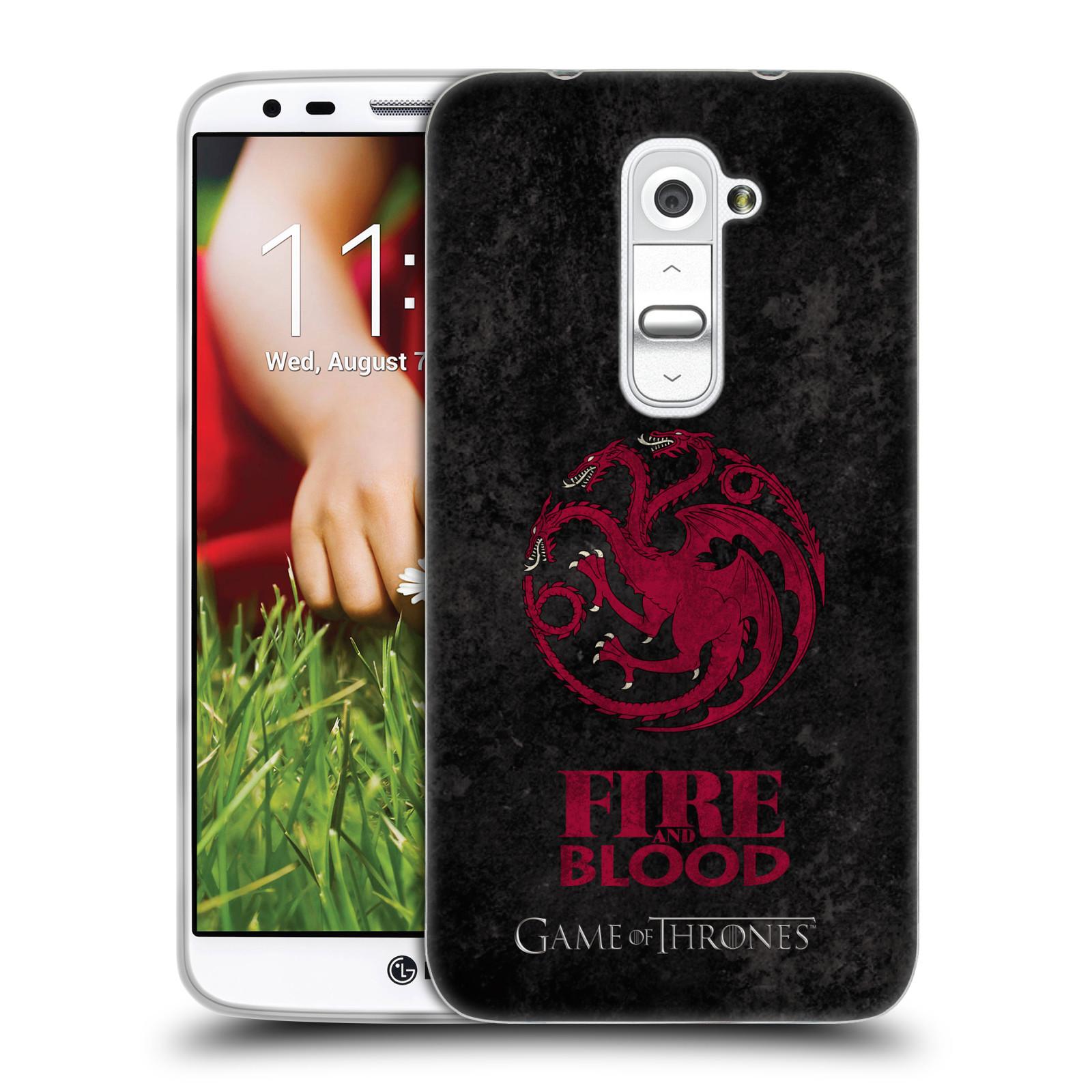 Silikonové pouzdro na mobil HTC LG G2 HEAD CASE Hra o trůny - Sigils Targaryen - Fire and Blood (Silikonový kryt či obal na mobilní telefon s licencovaným motivem Hra o trůny - Game Of Thrones pro HTC LG G2)