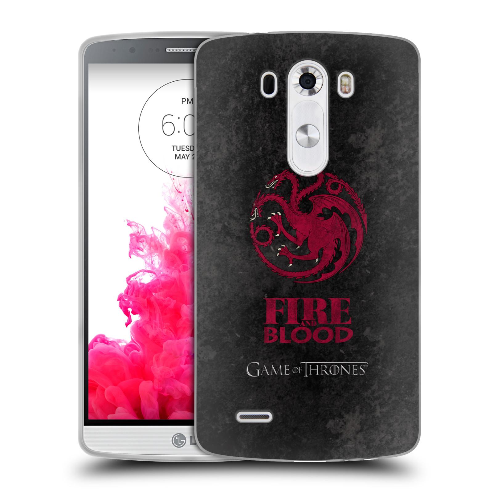 Silikonové pouzdro na mobil LG G3 HEAD CASE Hra o trůny - Sigils Targaryen - Fire and Blood (Silikonový kryt či obal na mobilní telefon s licencovaným motivem Hra o trůny - Game Of Thrones pro LG G3)