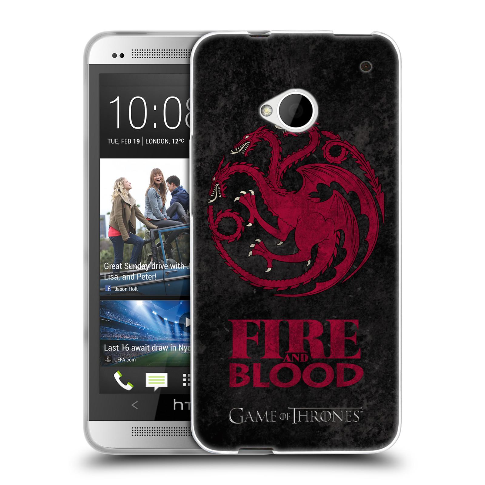 Silikonové pouzdro na mobil HTC ONE M7 HEAD CASE Hra o trůny - Sigils Targaryen - Fire and Blood (Silikonový kryt či obal na mobilní telefon s licencovaným motivem Hra o trůny - Game Of Thrones pro HTC ONE M7)