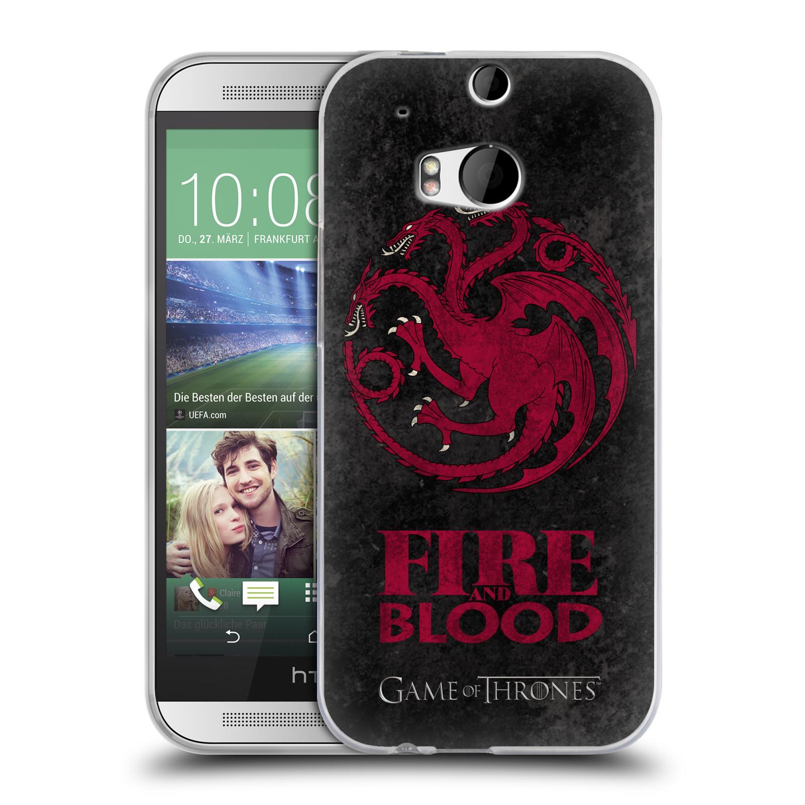 Silikonové pouzdro na mobil HTC ONE M8 HEAD CASE Hra o trůny - Sigils Targaryen - Fire and Blood (Silikonový kryt či obal na mobilní telefon s licencovaným motivem Hra o trůny - Game Of Thrones pro HTC ONE M8)