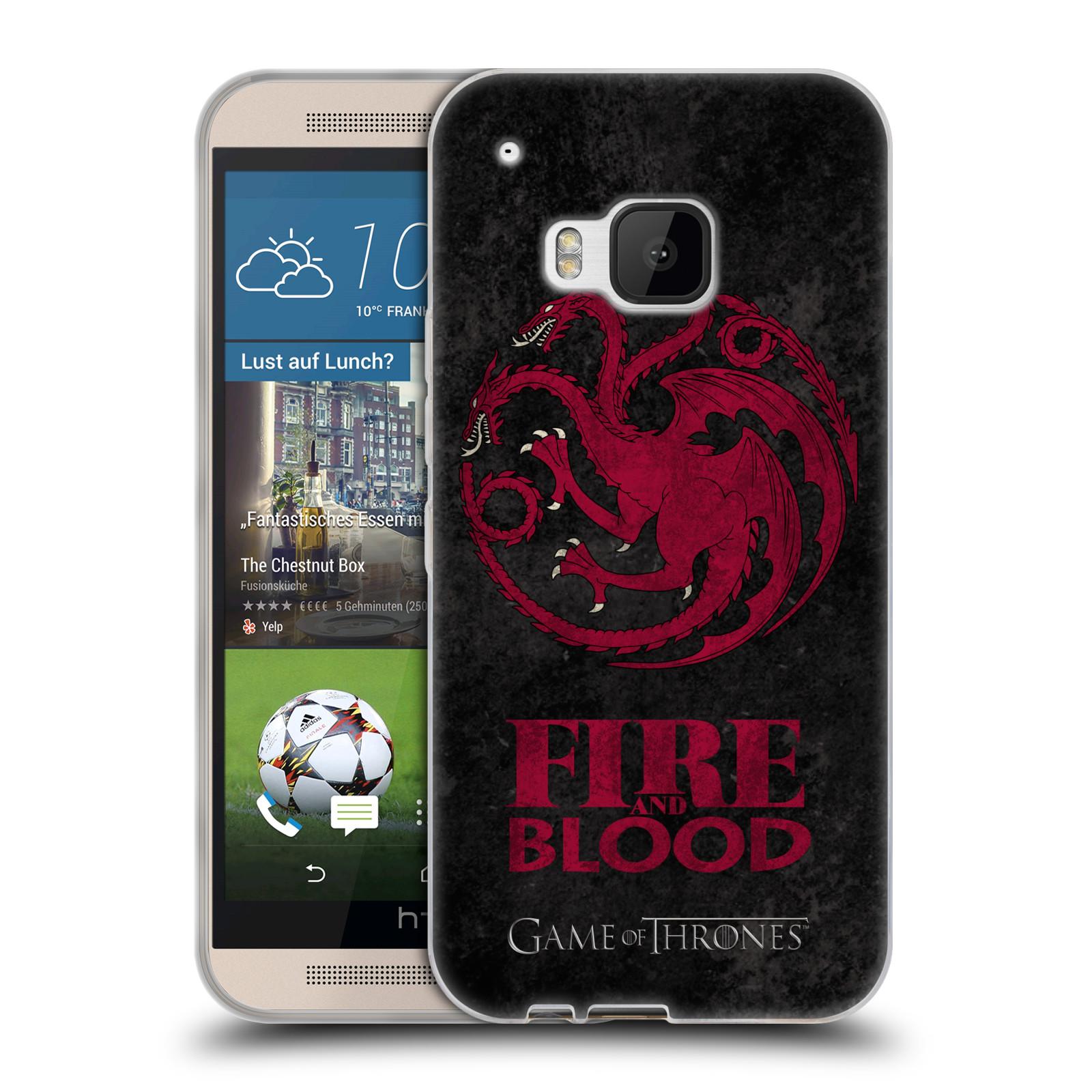 Silikonové pouzdro na mobil HTC ONE M9 HEAD CASE Hra o trůny - Sigils Targaryen - Fire and Blood (Silikonový kryt či obal na mobilní telefon s licencovaným motivem Hra o trůny - Game Of Thrones pro HTC ONE M9)