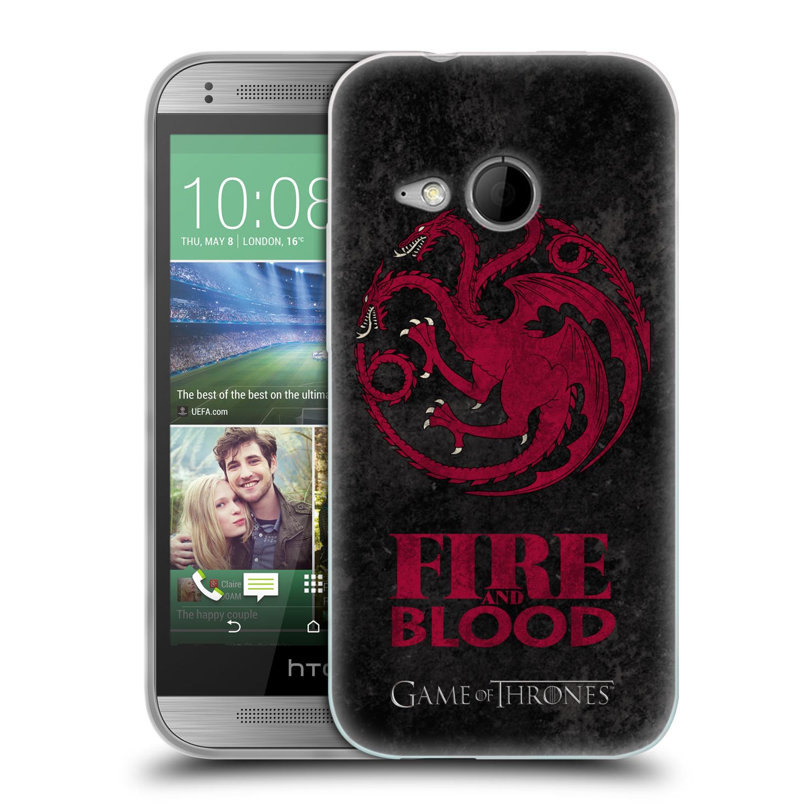 Silikonové pouzdro na mobil HTC ONE Mini 2 HEAD CASE Hra o trůny - Sigils Targaryen - Fire and Blood (Silikonový kryt či obal na mobilní telefon s licencovaným motivem Hra o trůny - Game Of Thrones pro HTC ONE Mini 2)