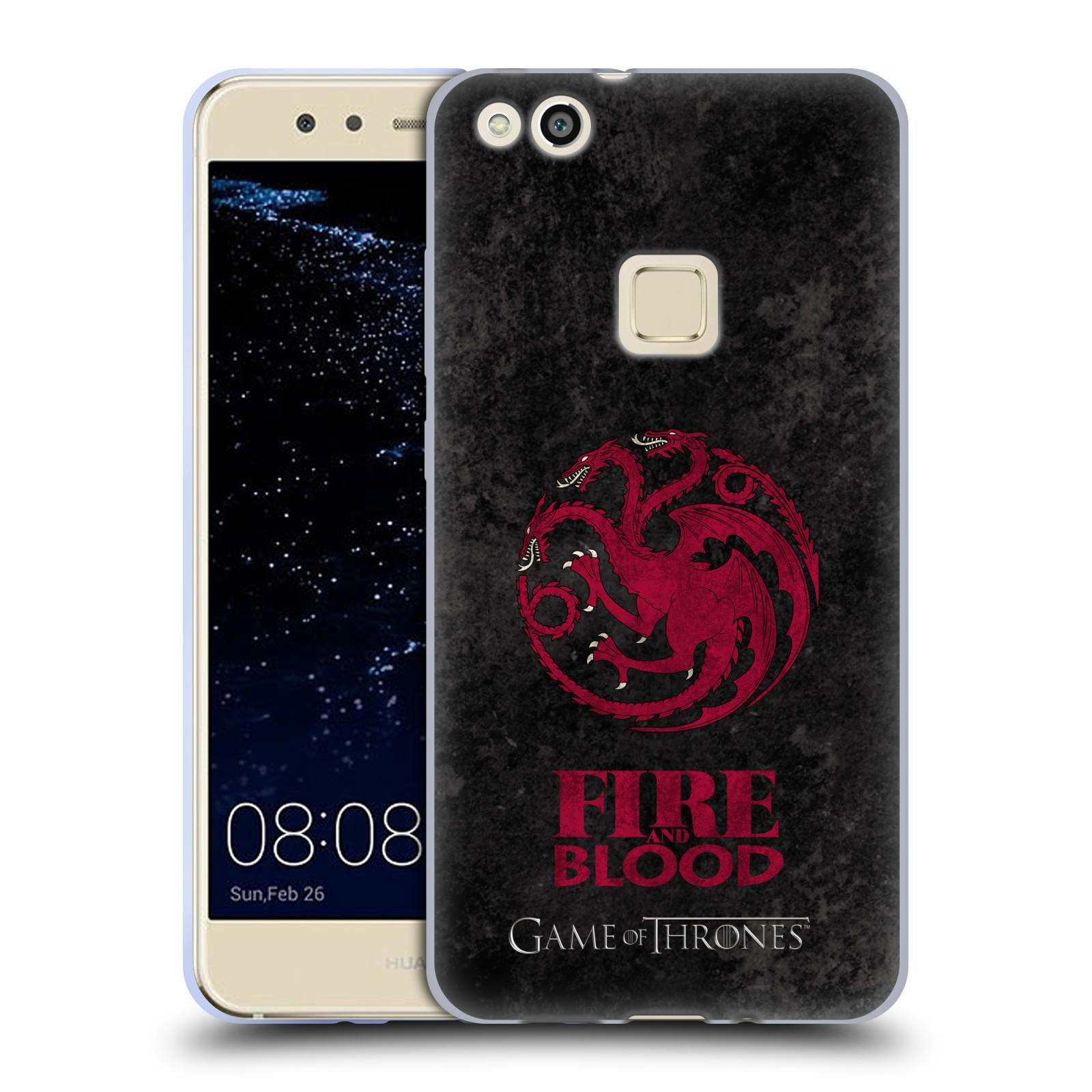 Silikonové pouzdro na mobil Huawei P10 Lite Head Case - Hra o trůny - Sigils Targaryen - Fire and Blood