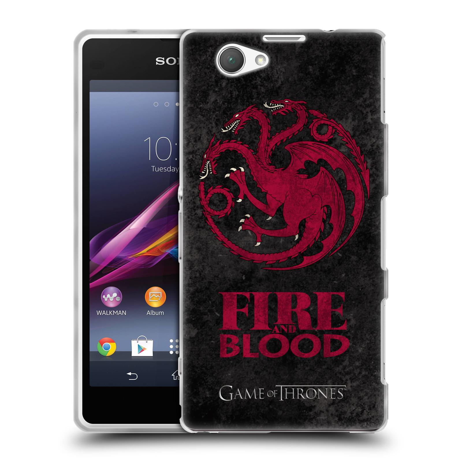 Silikonové pouzdro na mobil Sony Xperia Z1 Compact D5503 HEAD CASE Hra o trůny - Sigils Targaryen - Fire and Blood (Silikonový kryt či obal na mobilní telefon s licencovaným motivem Hra o trůny - Game Of Thrones pro Sony Xperia Z1 Compact)