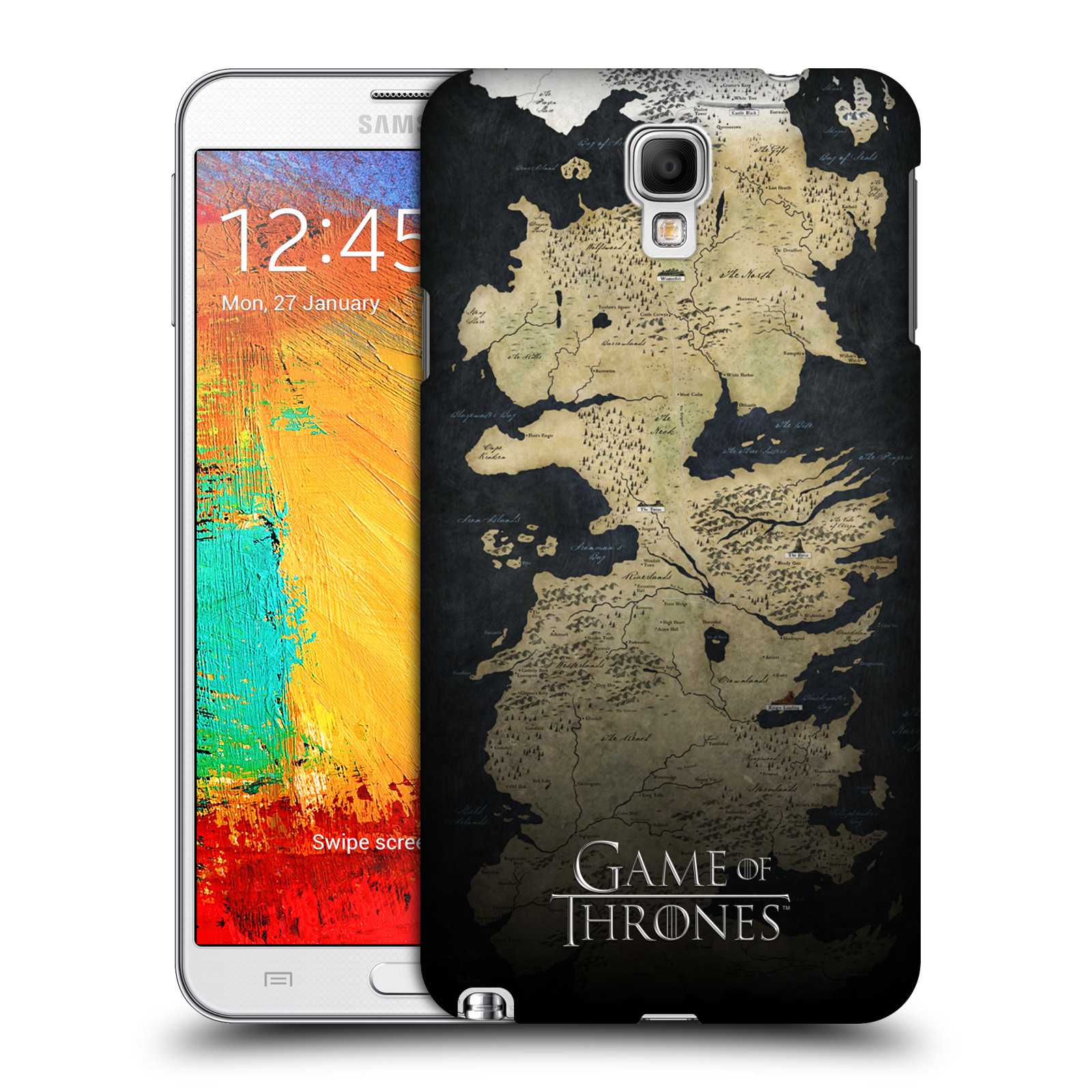 Plastové pouzdro na mobil Samsung Galaxy Note 3 Neo HEAD CASE Hra o trůny - Mapa západozemí (Kryt či obal na mobilní telefon s licencovaným motivem Hra o trůny / Game Of Thrones pro Samsung Galaxy Note 3 Neo SM-N7505)