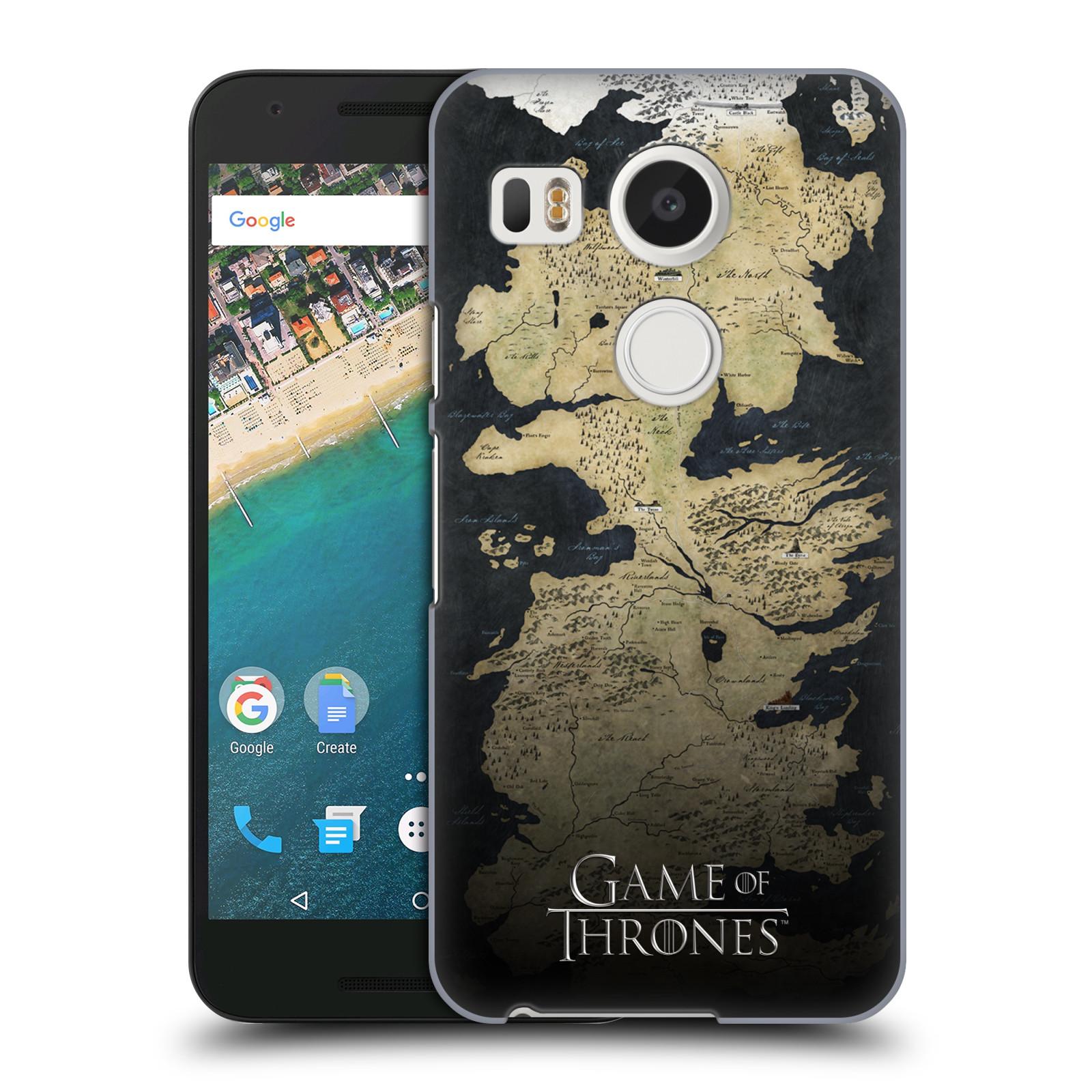 Plastové pouzdro na mobil LG Nexus 5X HEAD CASE Hra o trůny - Mapa západozemí