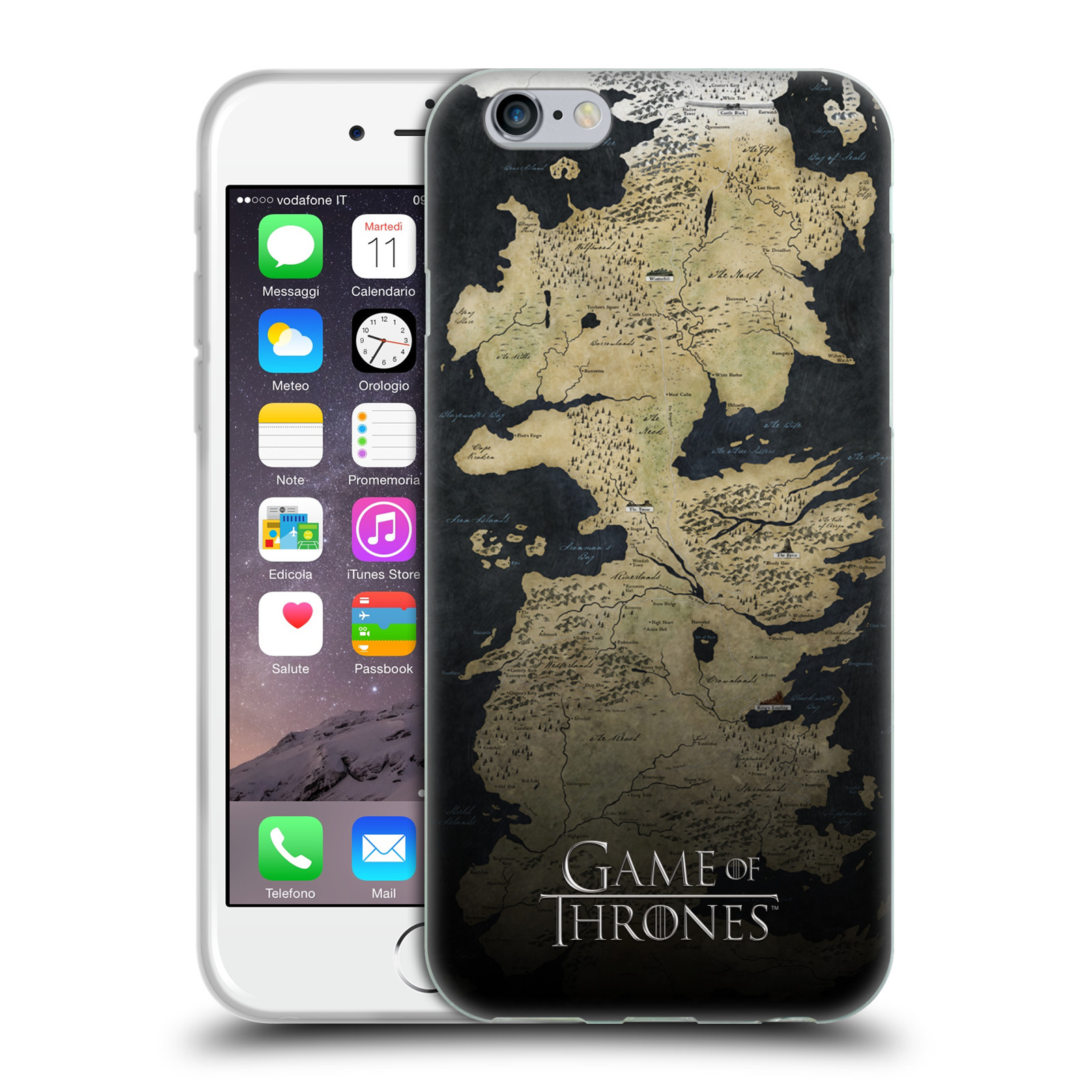 Silikonové pouzdro na mobil Apple iPhone 6 HEAD CASE Hra o trůny - Mapa západozemí