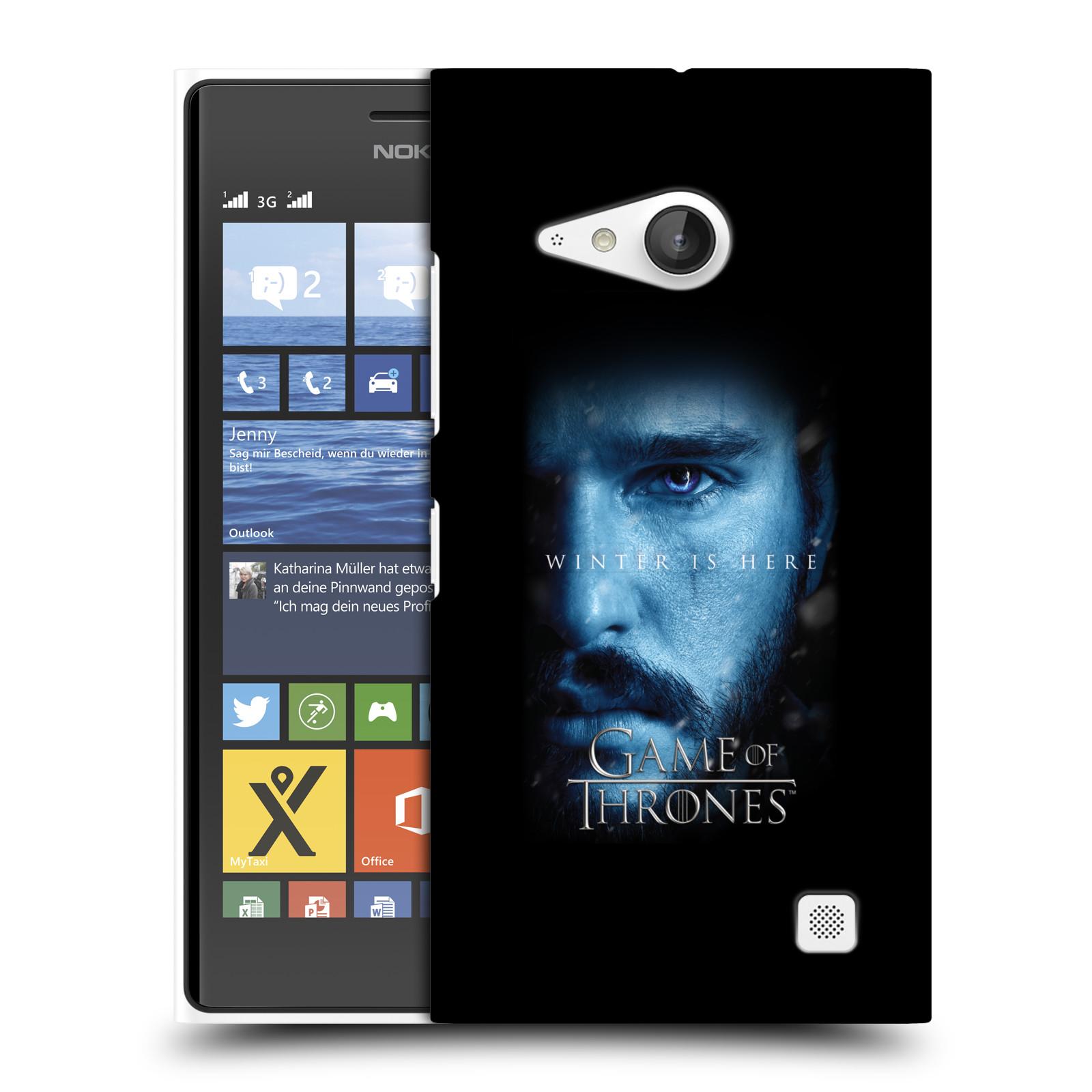 Plastové pouzdro na mobil Nokia Lumia 735 - Head Case - Hra o trůny - Jon Snow - Winter is here (Plastový kryt či obal na mobilní telefon s motivem Game of Thrones - Jon Snow - Winter is here - Season 7 pro Nokia Lumia 735)