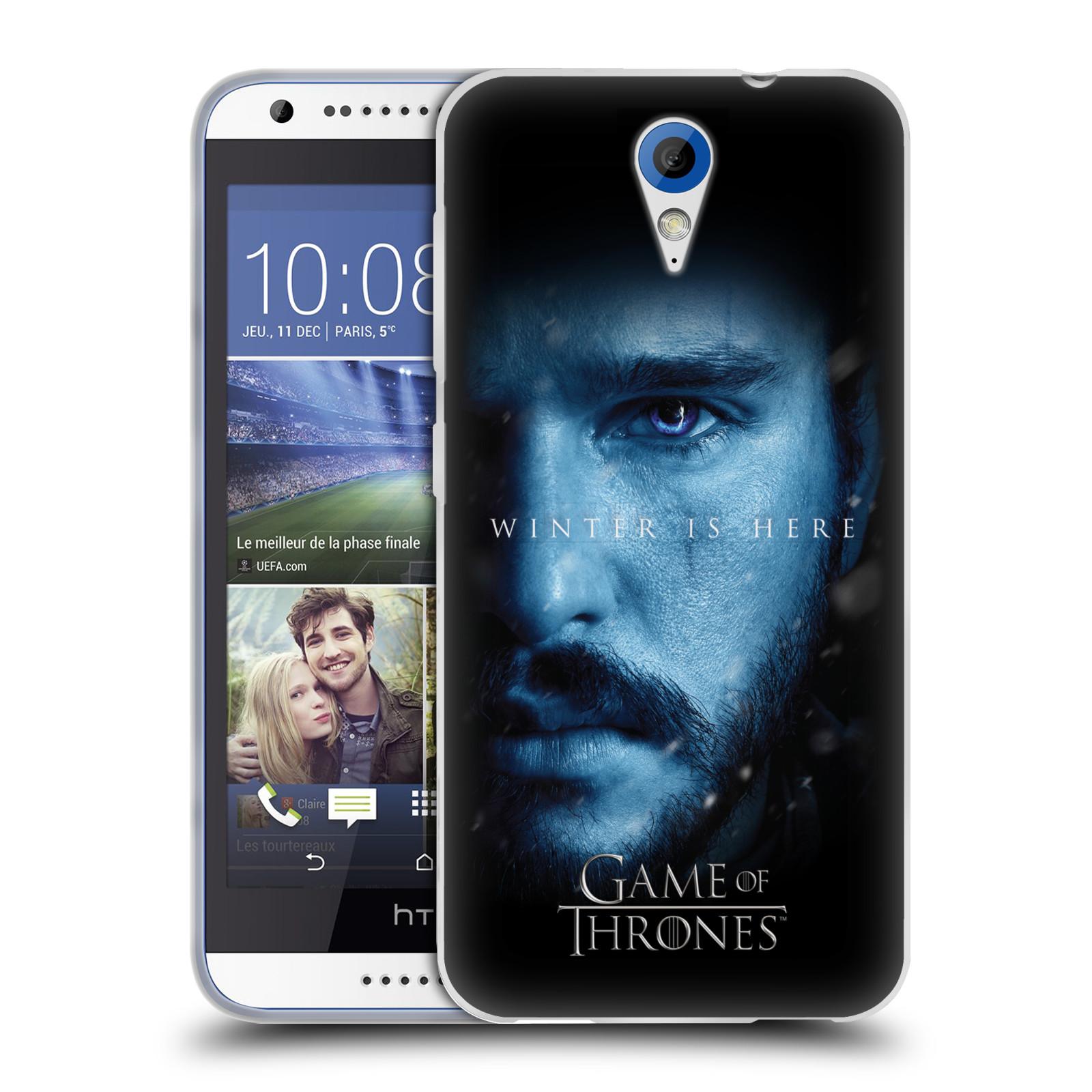 Silikonové pouzdro na mobil HTC Desire 620 - Head Case - Hra o trůny - Jon Snow - Winter is here (Silikonový kryt či obal na mobilní telefon s motivem Game of Thrones - Jon Snow - Winter is here - Season 7 pro HTC Desire 620)