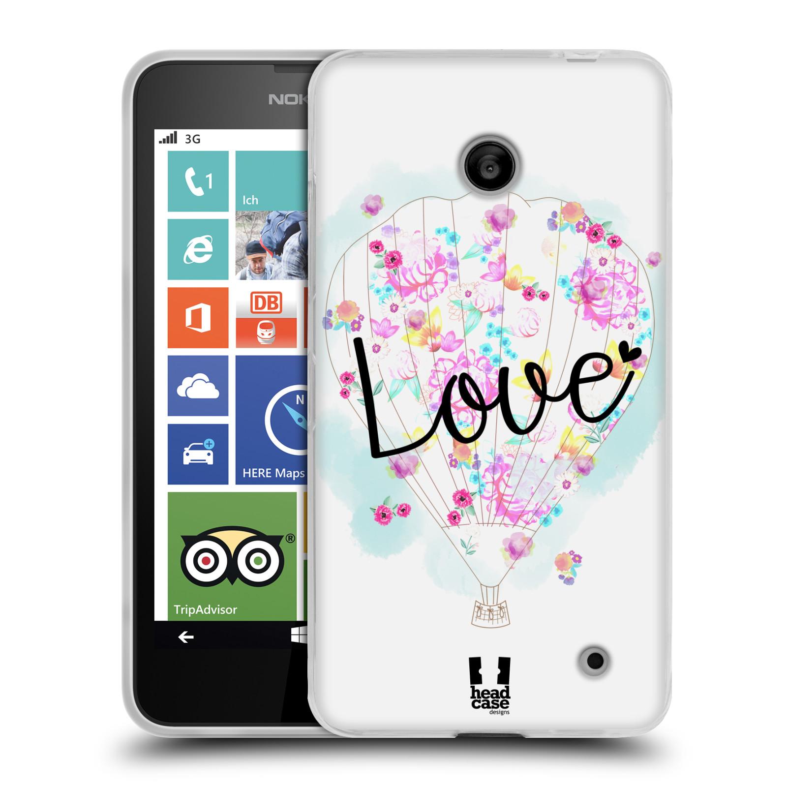Silikonové pouzdro na mobil Nokia Lumia 630 HEAD CASE Balón Love (Silikonový kryt či obal na mobilní telefon Nokia Lumia 630 a Nokia Lumia 630 Dual SIM)