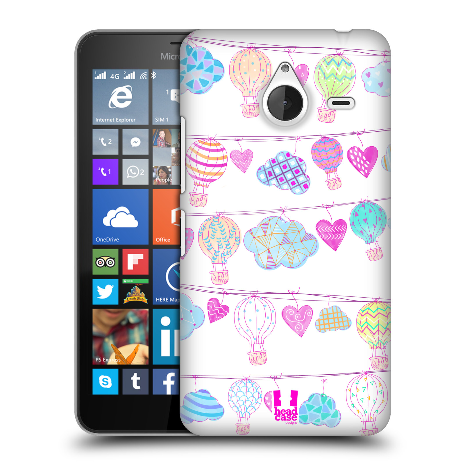 Plastové pouzdro na mobil Microsoft Lumia 640 XL HEAD CASE Balóny a srdíčka (Plastový kryt či obal na mobilní telefon Microsoft Lumia 640 XL)