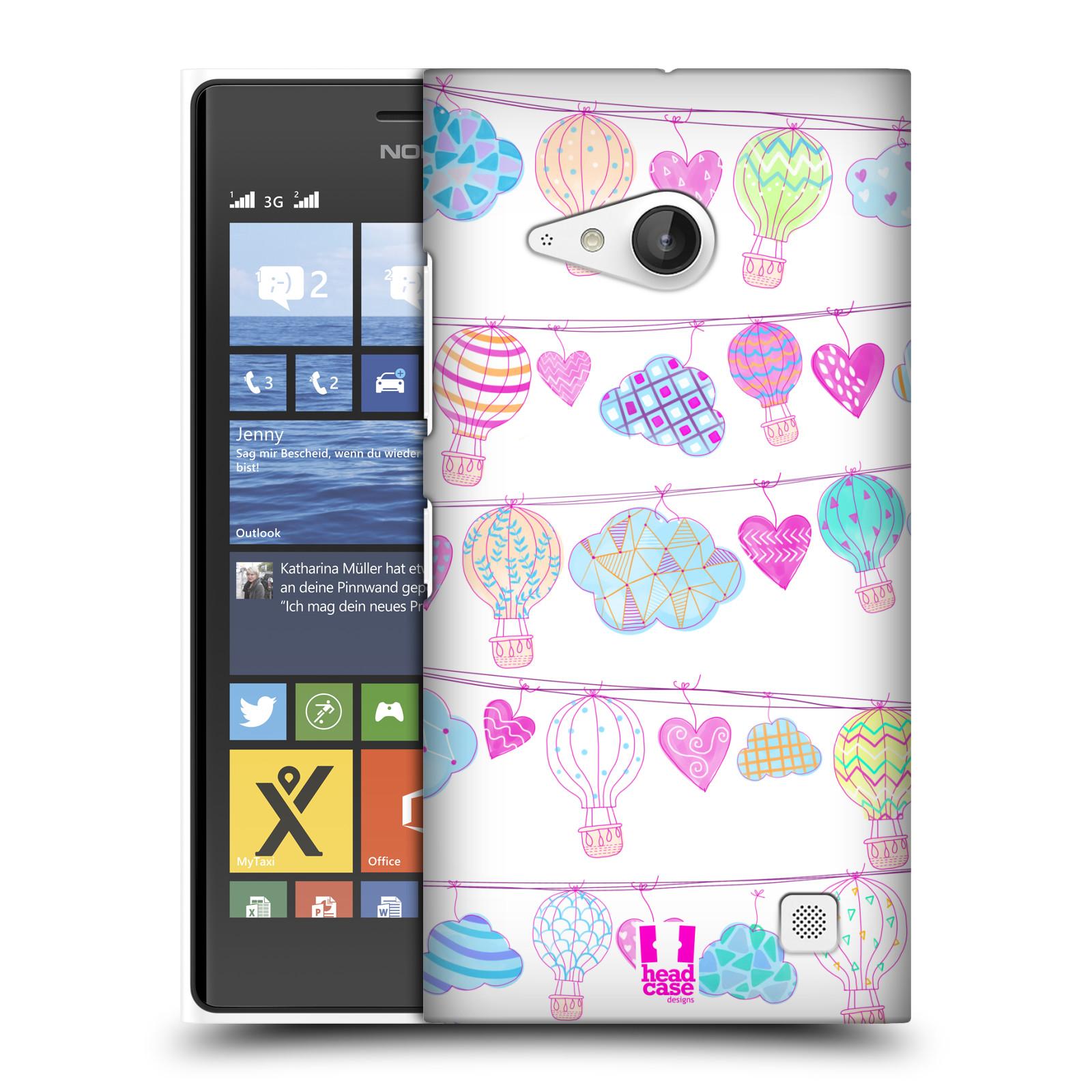 Plastové pouzdro na mobil Nokia Lumia 730 Dual SIM HEAD CASE Balóny a srdíčka (Plastový kryt či obal na mobilní telefon Nokia Lumia 730 Dual SIM)