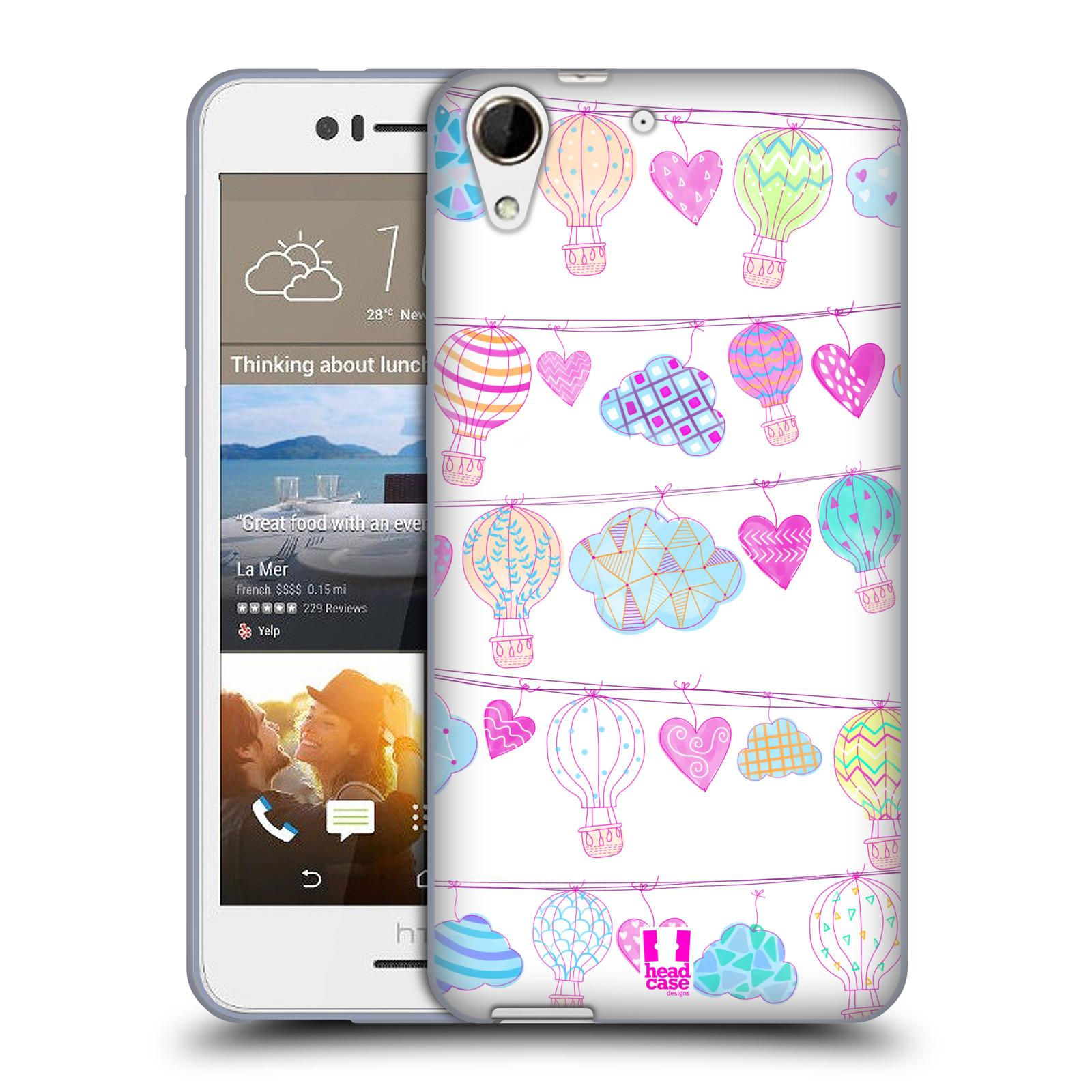 Silikonové pouzdro na mobil HTC Desire 728G Dual SIM HEAD CASE Balóny a srdíčka (Silikonový kryt či obal na mobilní telefon HTC Desire 728 G Dual SIM)