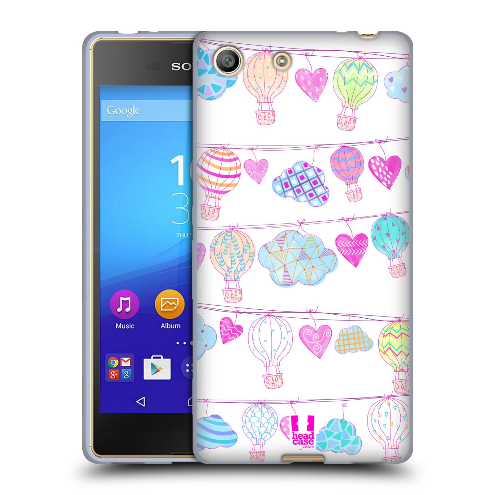 Silikonové pouzdro na mobil Sony Xperia M5 HEAD CASE Balóny a srdíčka (Silikonový kryt či obal na mobilní telefon Sony Xperia M5 Dual SIM / Aqua)