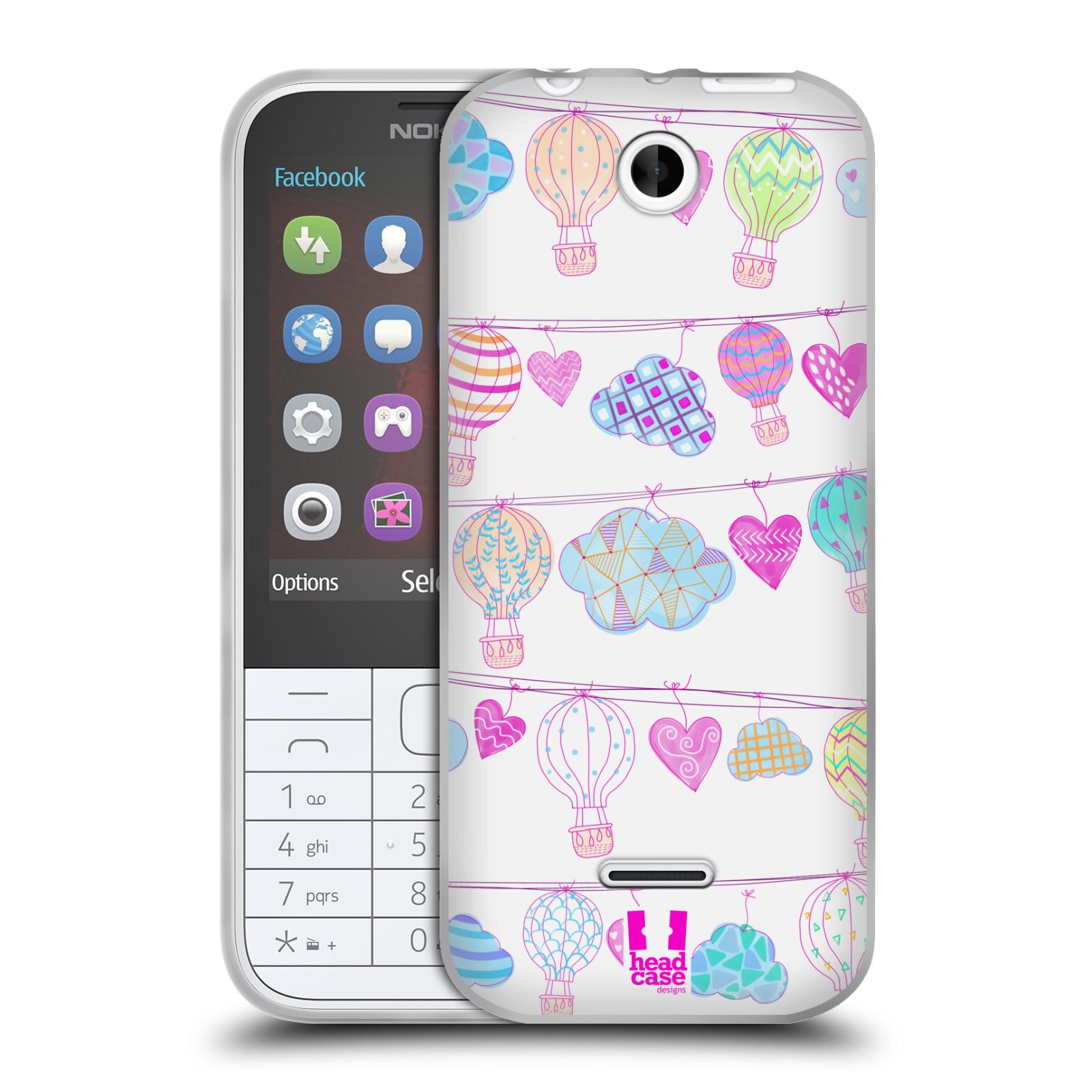 Silikonové pouzdro na mobil Nokia 225 HEAD CASE Balóny a srdíčka (Silikonový kryt či obal na mobilní telefon Nokia 225)