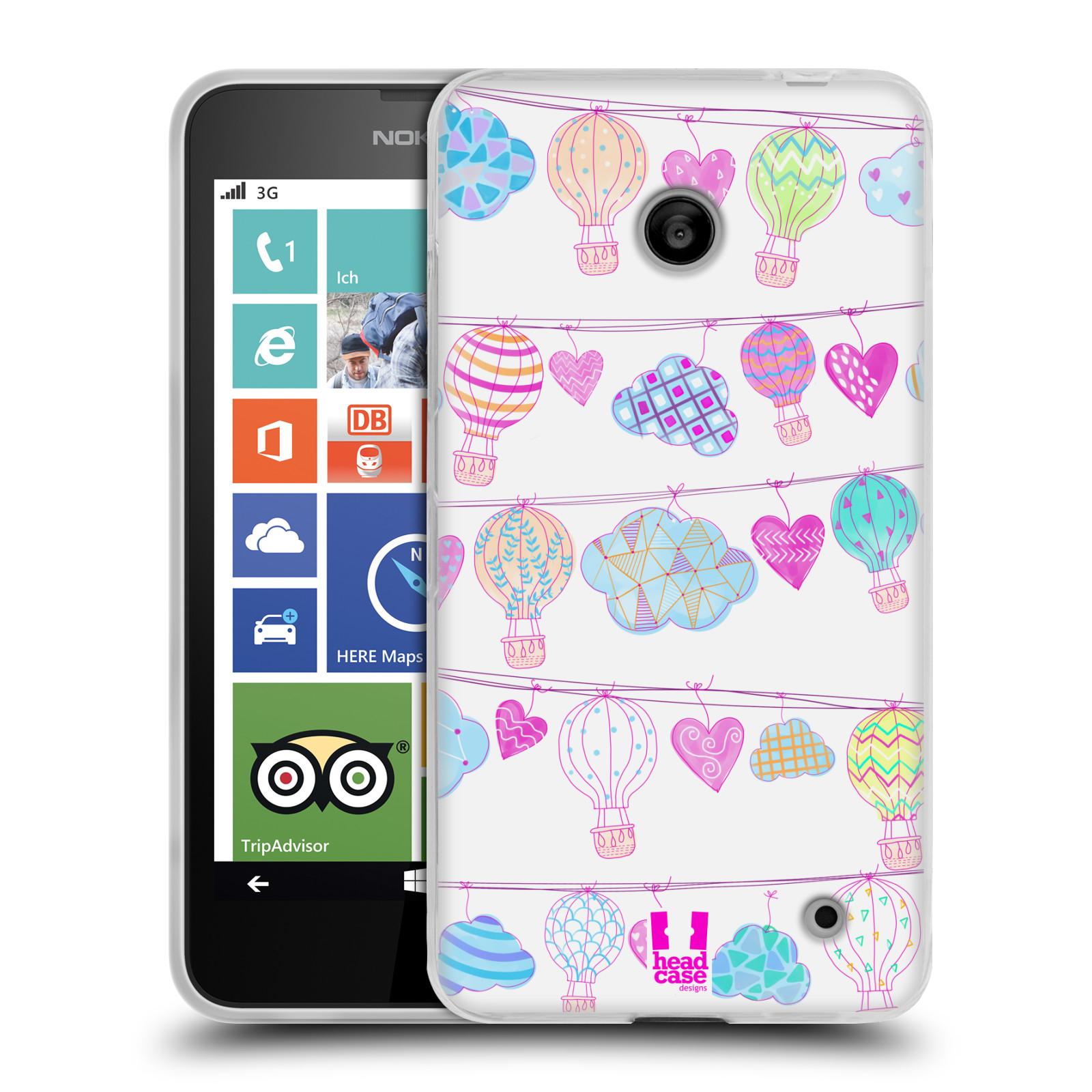 Silikonové pouzdro na mobil Nokia Lumia 630 HEAD CASE Balóny a srdíčka (Silikonový kryt či obal na mobilní telefon Nokia Lumia 630 a Nokia Lumia 630 Dual SIM)