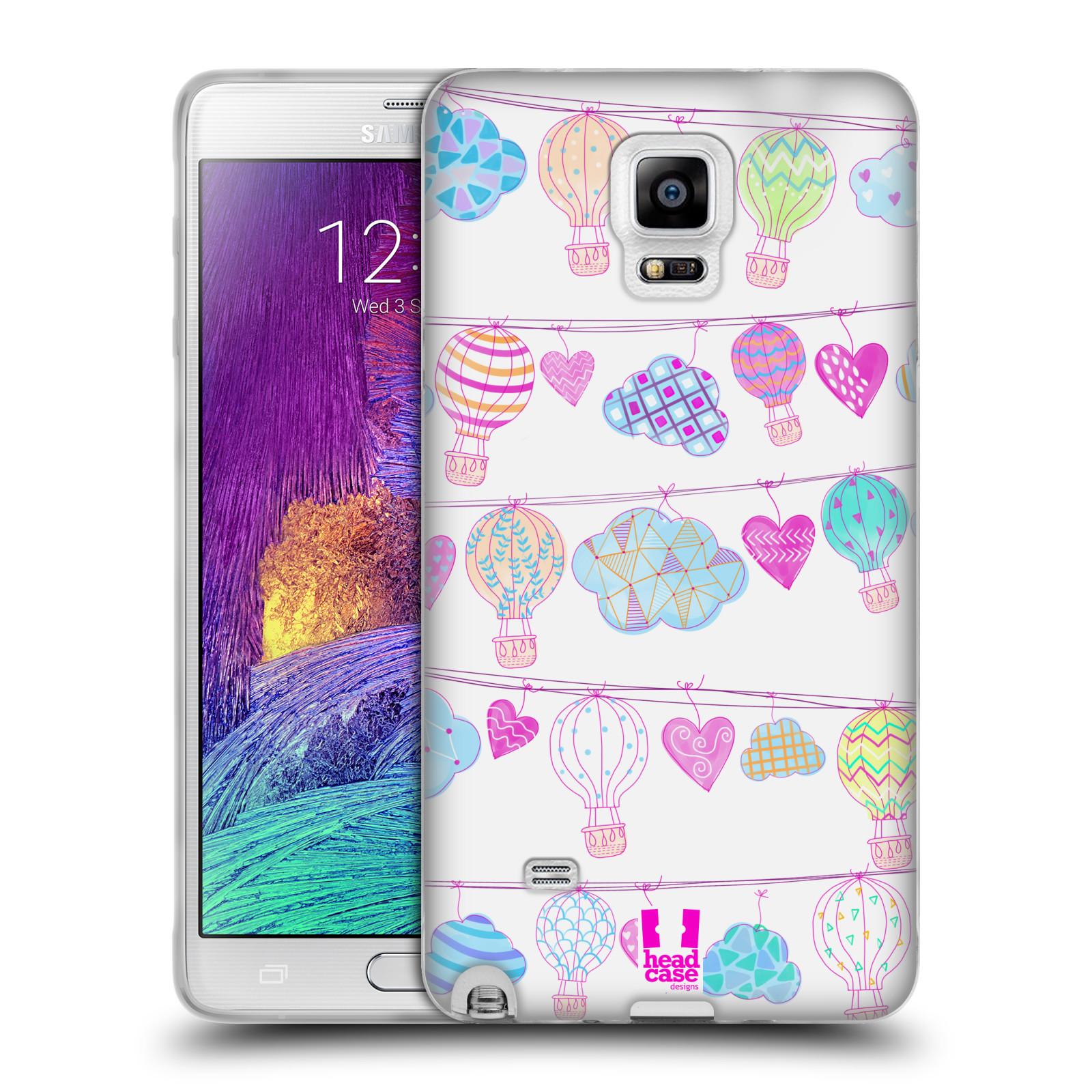 Silikonové pouzdro na mobil Samsung Galaxy Note 4 HEAD CASE Balóny a srdíčka (Silikonový kryt či obal na mobilní telefon Samsung Galaxy Note 4 SM-N910F)