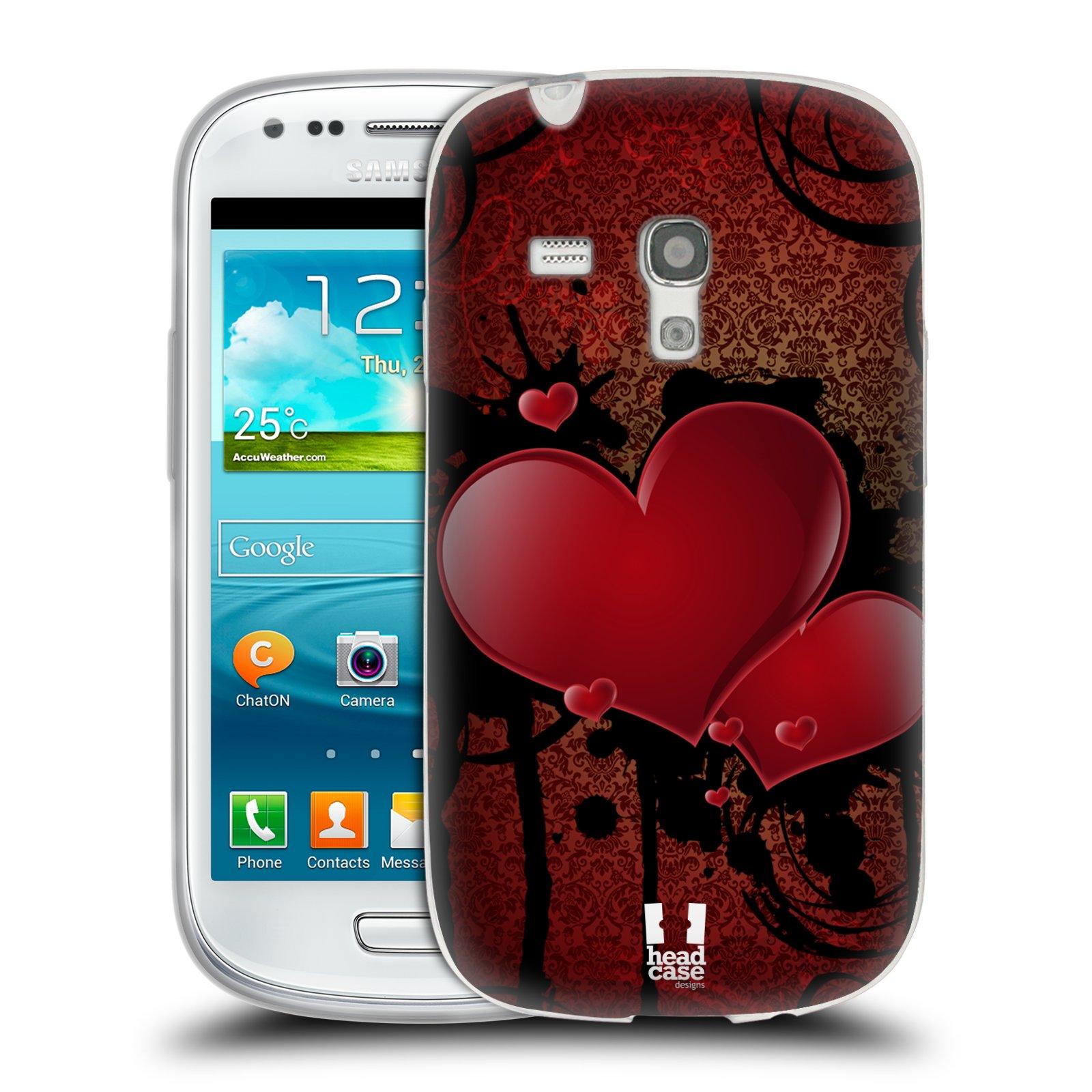 Silikonové pouzdro na mobil Samsung Galaxy S III Mini HEAD CASE SRDÍČKA GRUNGE (Silikonový kryt či obal na mobilní telefon Samsung Galaxy S III Mini GT-i8190)