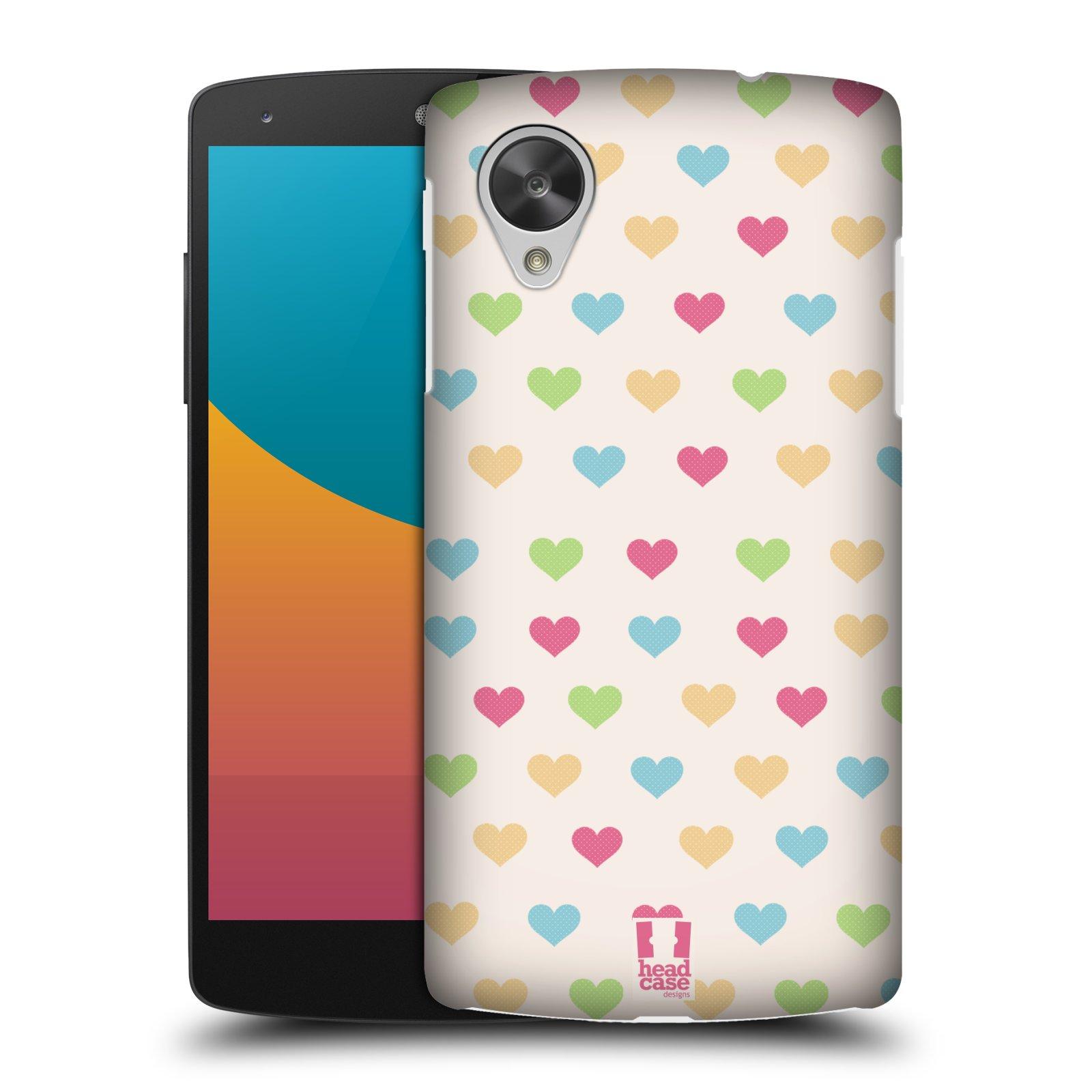 Plastové pouzdro na mobil LG Nexus 5 HEAD CASE SRDÍČKA BAREVNÁ (Kryt či obal na mobilní telefon LG Google Nexus 5 D821)