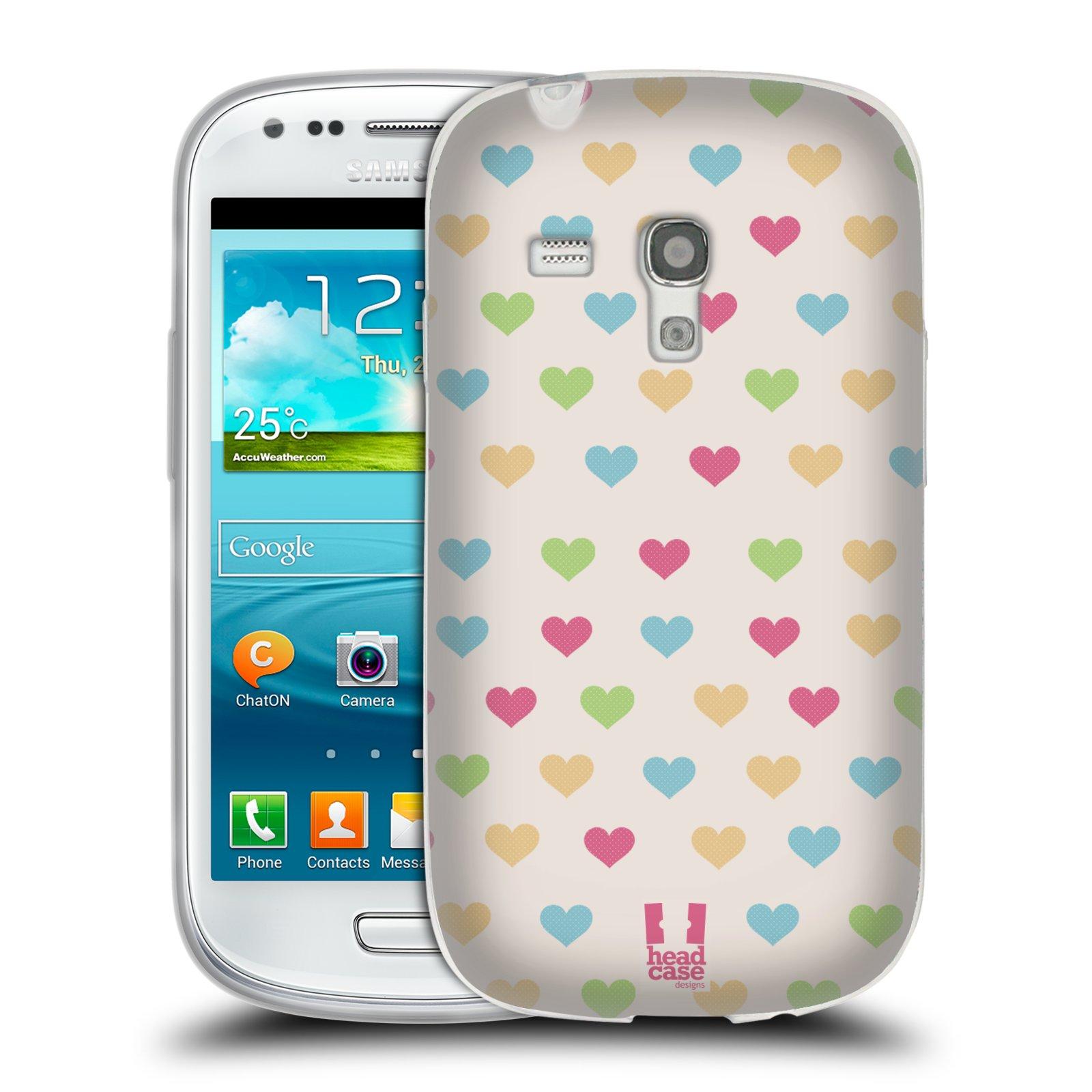 Silikonové pouzdro na mobil Samsung Galaxy S III Mini HEAD CASE SRDÍČKA BAREVNÁ (Silikonový kryt či obal na mobilní telefon Samsung Galaxy S III Mini GT-i8190)