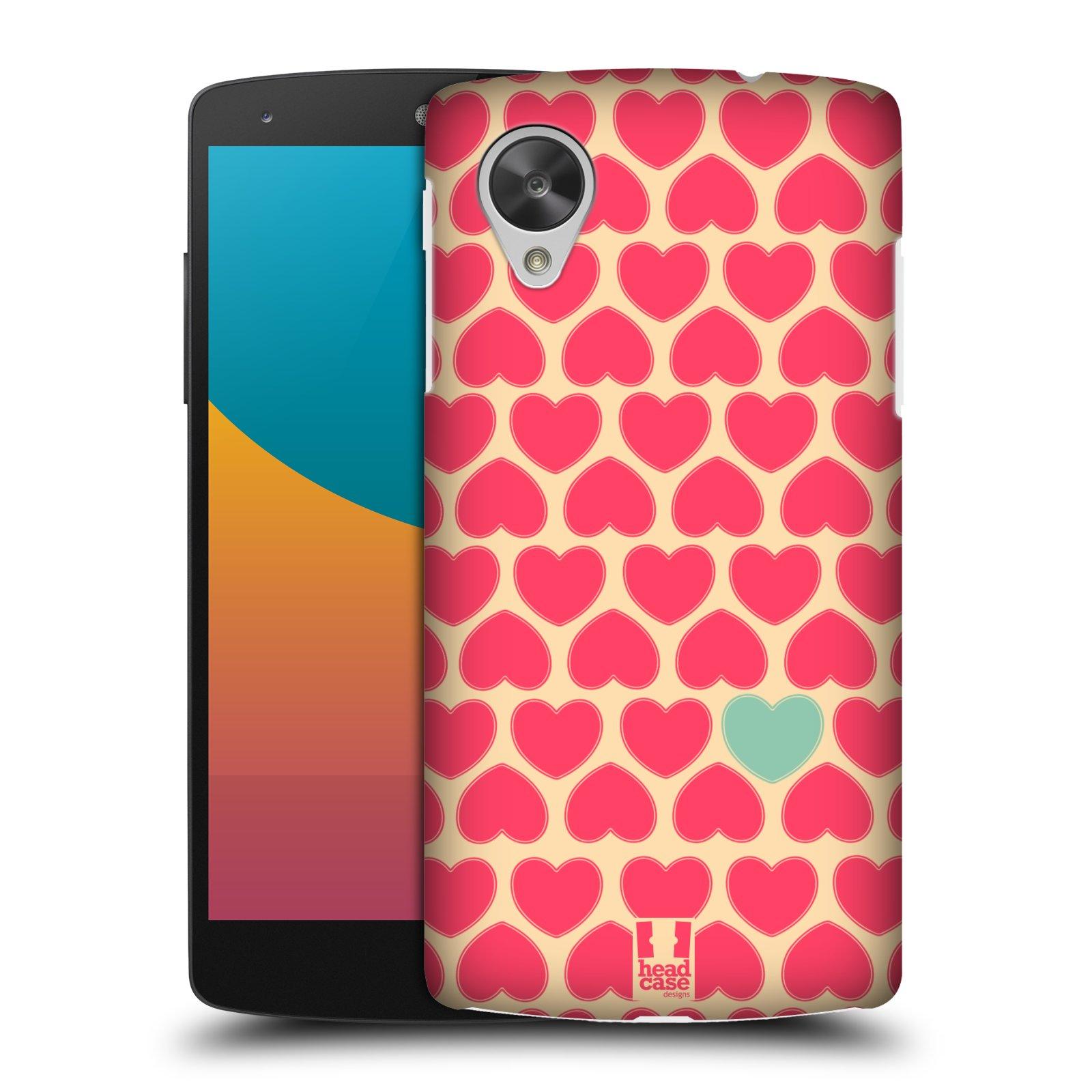 Plastové pouzdro na mobil LG Nexus 5 HEAD CASE SRDÍČKA RŮŽOVÁ (Kryt či obal na mobilní telefon LG Google Nexus 5 D821)