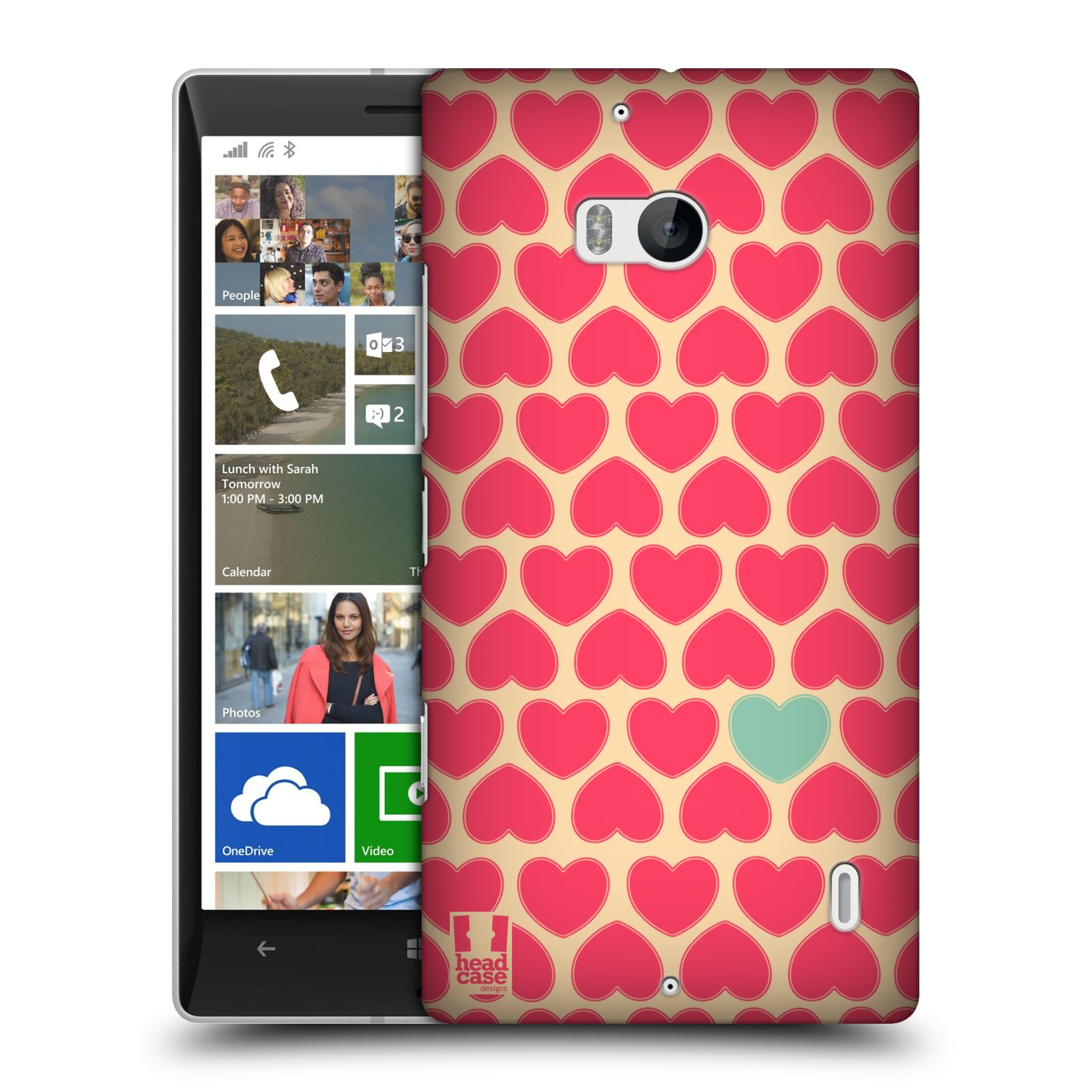 Plastové pouzdro na mobil Nokia Lumia 930 HEAD CASE SRDÍČKA RŮŽOVÁ (Kryt či obal na mobilní telefon Nokia Lumia 930)