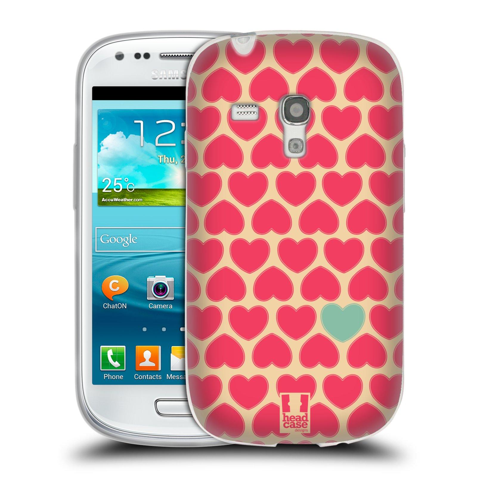 Silikonové pouzdro na mobil Samsung Galaxy S III Mini HEAD CASE SRDÍČKA RŮŽOVÁ (Silikonový kryt či obal na mobilní telefon Samsung Galaxy S III Mini GT-i8190)