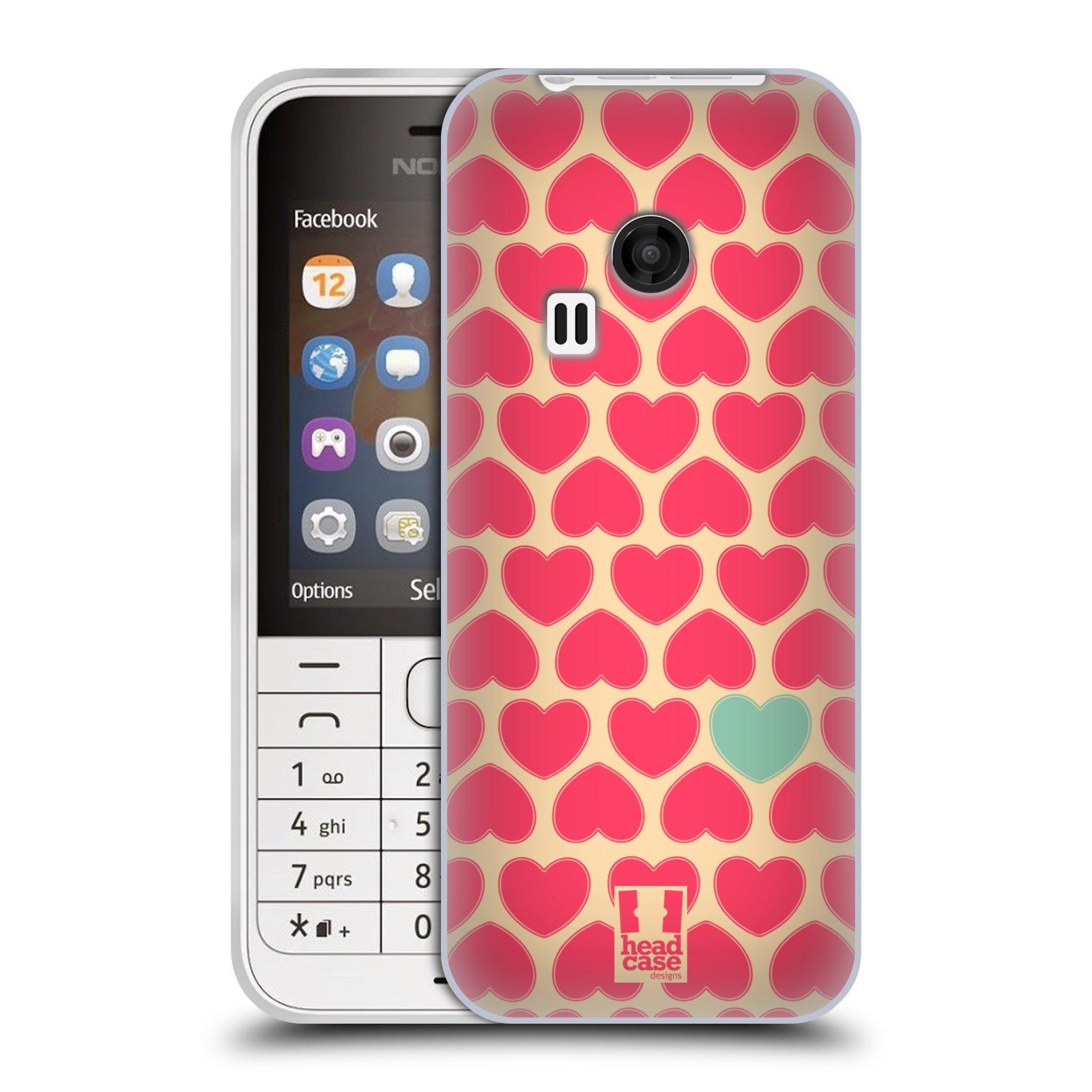 Silikonové pouzdro na mobil Nokia 220 HEAD CASE SRDÍČKA RŮŽOVÁ (Silikonový kryt či obal na mobilní telefon Nokia 220 a 220 Dual SIM)