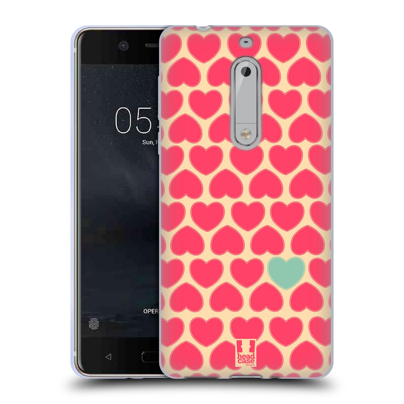 Silikonové pouzdro na mobil Nokia 5 Head Case - SRDÍČKA RŮŽOVÁ (Silikonový kryt či obal na mobilní telefon Nokia 5 (2017))