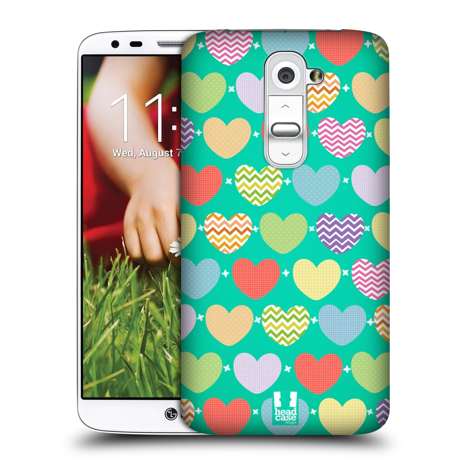 Plastové pouzdro na mobil LG G2 HEAD CASE SRDÍČKA NA ZELENÉ (Kryt či obal na mobilní telefon LG G2 D802)