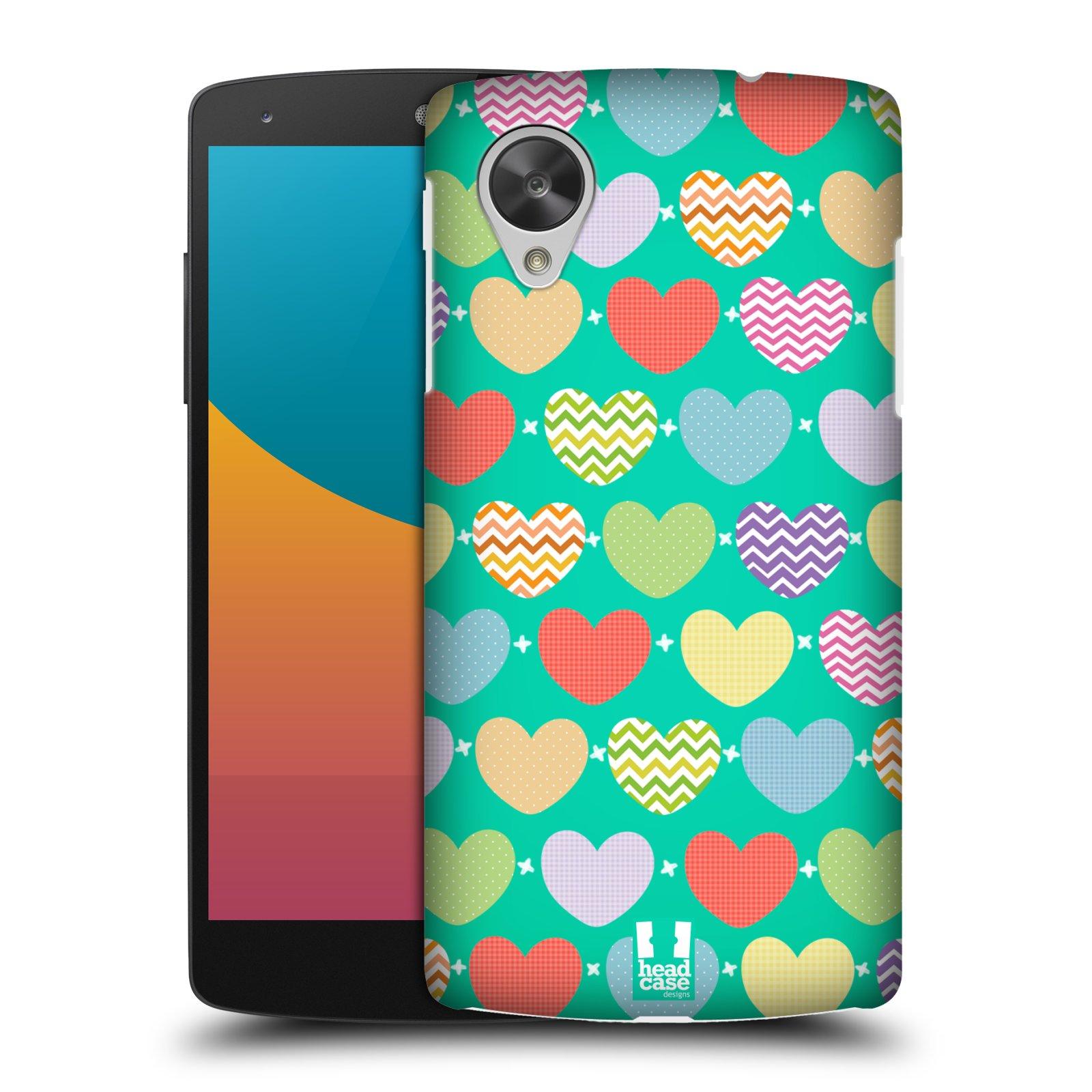 Plastové pouzdro na mobil LG Nexus 5 HEAD CASE SRDÍČKA NA ZELENÉ (Kryt či obal na mobilní telefon LG Google Nexus 5 D821)