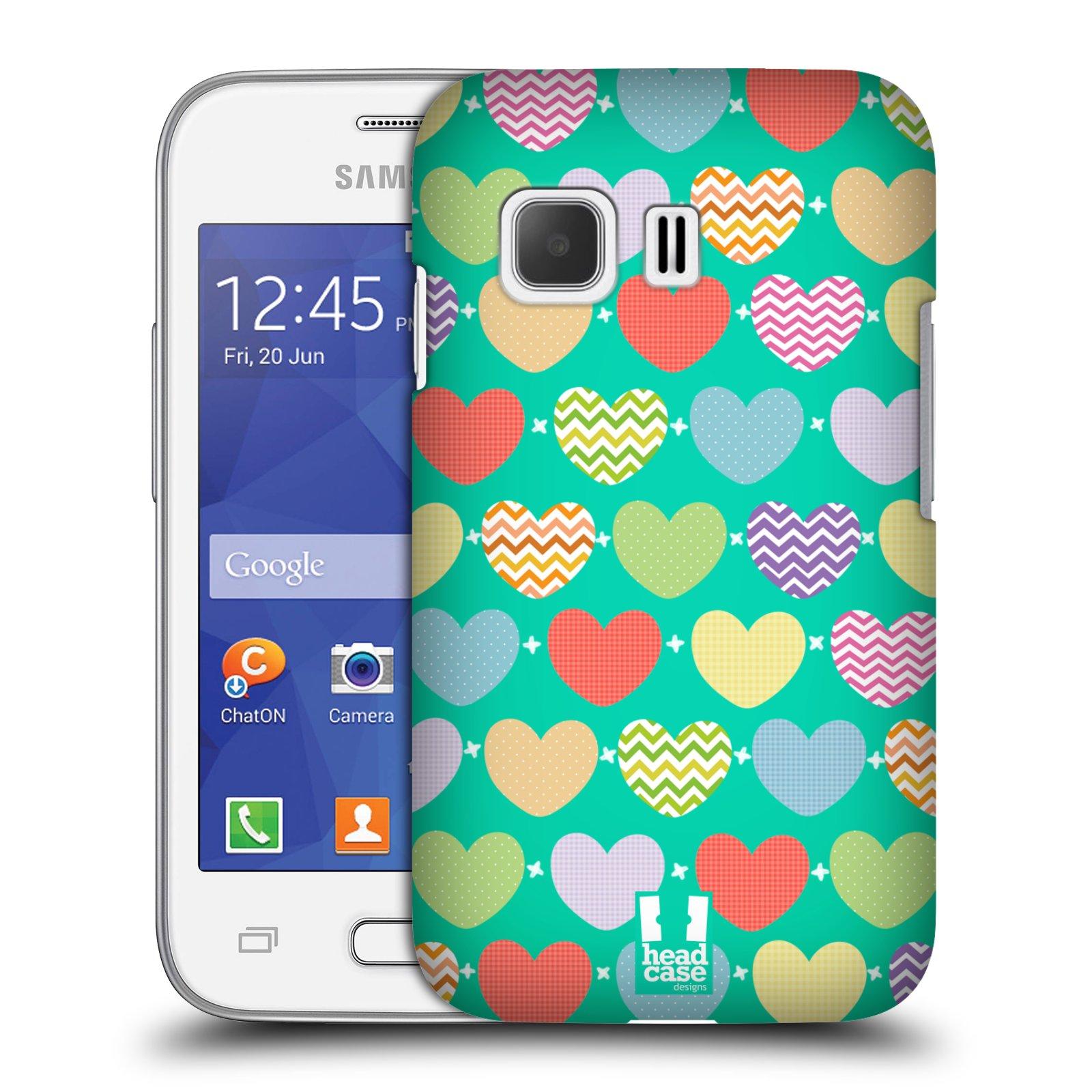 Plastové pouzdro na mobil Samsung Galaxy Young 2 HEAD CASE SRDÍČKA NA ZELENÉ (Kryt či obal na mobilní telefon Samsung Galaxy Young 2 SM-G130)
