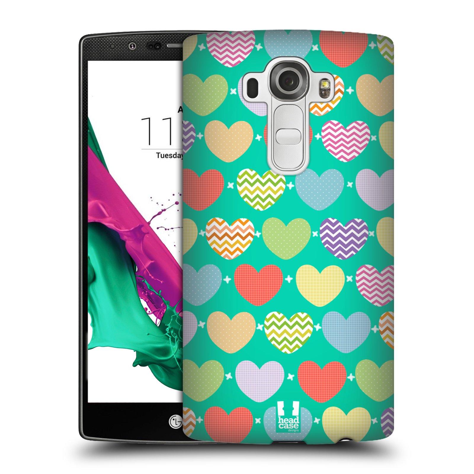 Plastové pouzdro na mobil LG G4 HEAD CASE SRDÍČKA NA ZELENÉ (Kryt či obal na mobilní telefon LG G4 H815)