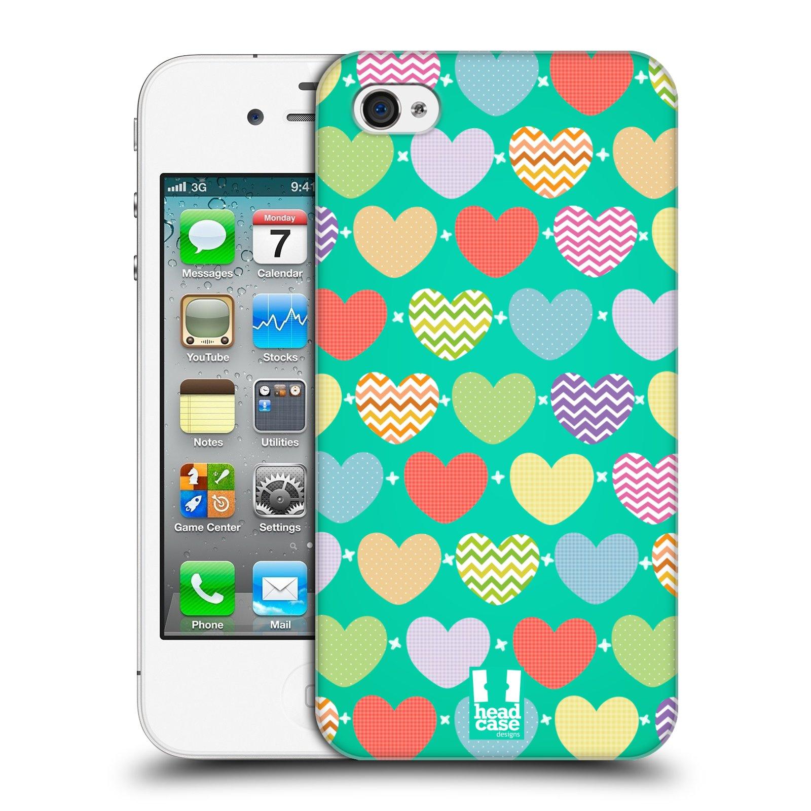 Plastové pouzdro na mobil Apple iPhone 4 a 4S HEAD CASE SRDÍČKA NA ZELENÉ (Kryt či obal na mobilní telefon Apple iPhone 4 a 4S)
