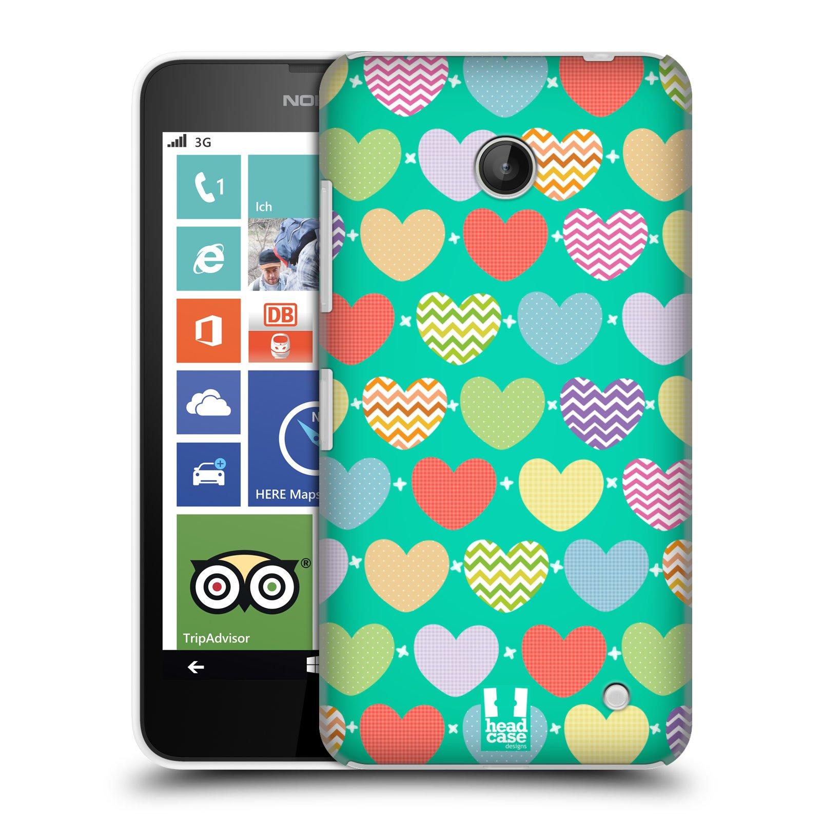 Plastové pouzdro na mobil Nokia Lumia 630 HEAD CASE SRDÍČKA NA ZELENÉ (Kryt či obal na mobilní telefon Nokia Lumia 630 a Nokia Lumia 630 Dual SIM)