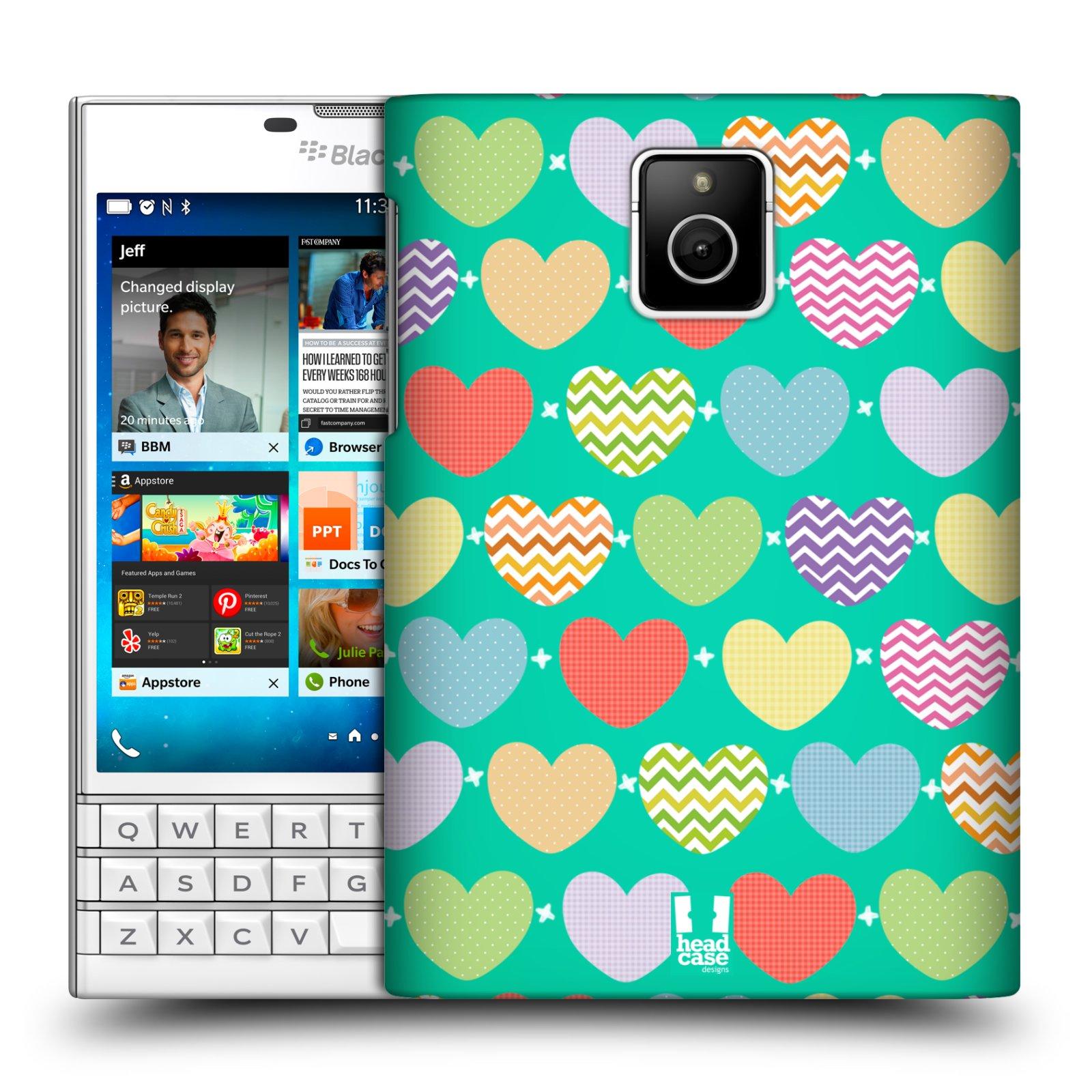 Plastové pouzdro na mobil Blackberry PASSPORT HEAD CASE SRDÍČKA NA ZELENÉ (Kryt či obal na mobilní telefon Blackberry PASSPORT)