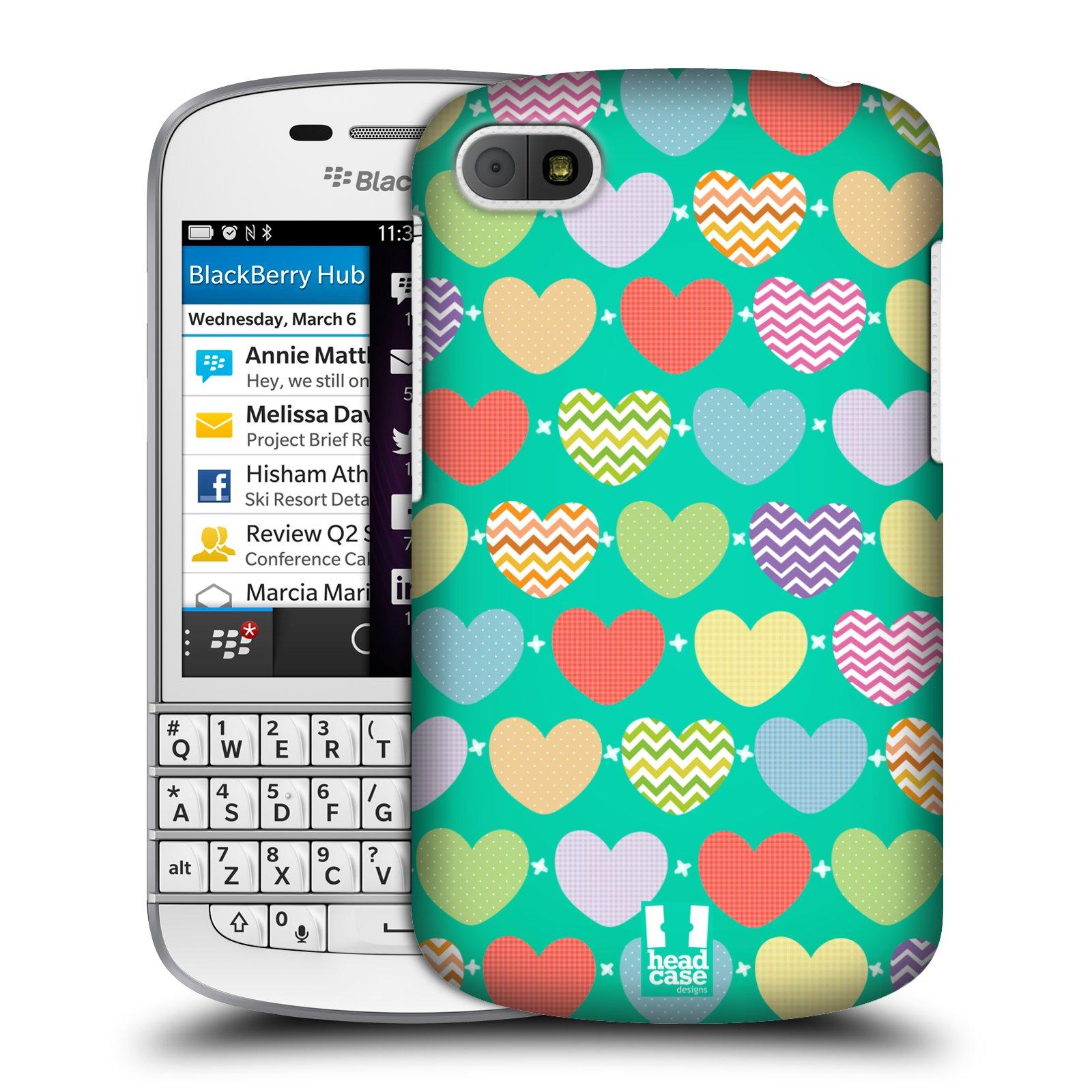 Plastové pouzdro na mobil Blackberry Q10 HEAD CASE SRDÍČKA NA ZELENÉ (Kryt či obal na mobilní telefon Blackberry Q10)