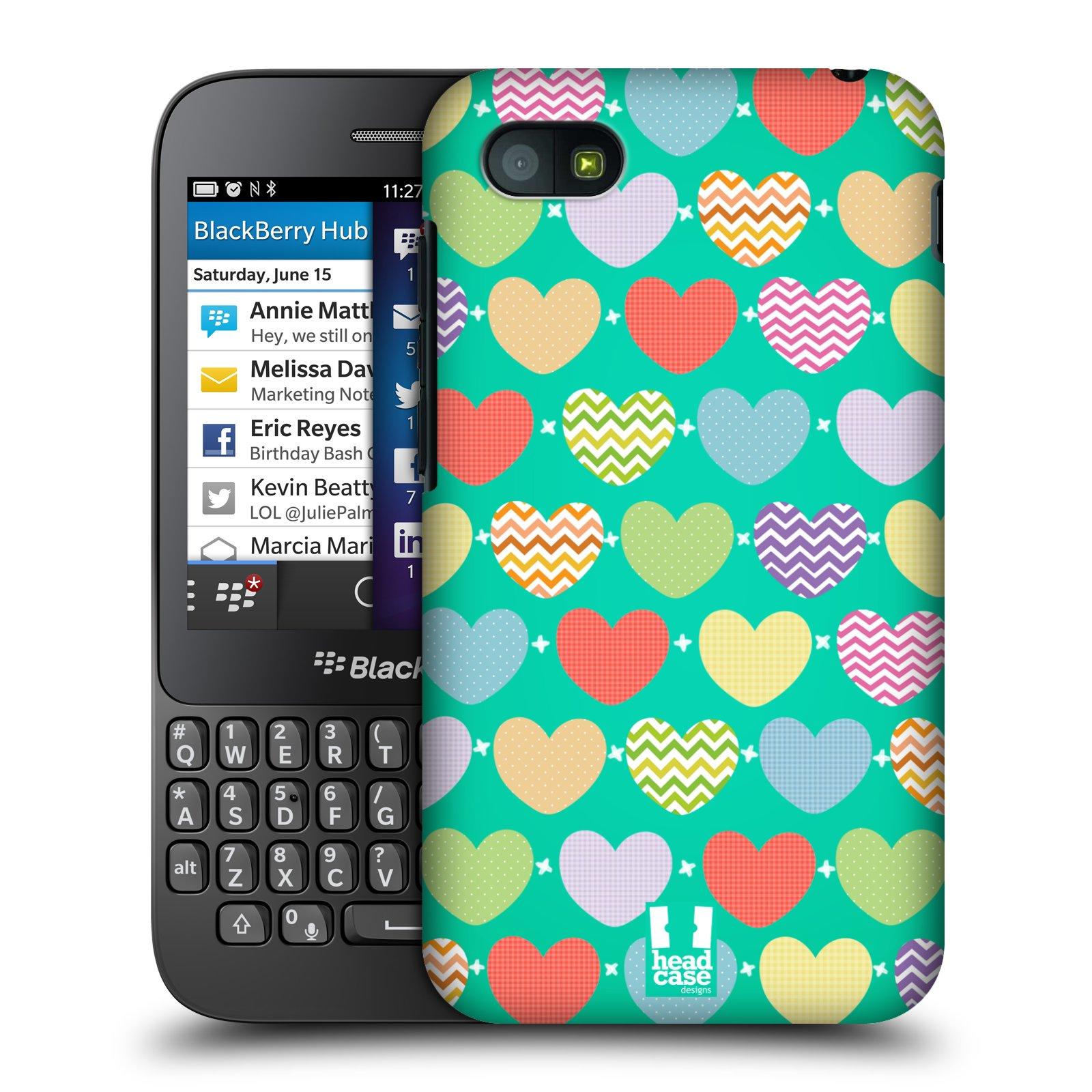 Plastové pouzdro na mobil Blackberry Q5 HEAD CASE SRDÍČKA NA ZELENÉ (Kryt či obal na mobilní telefon Blackberry Q5)